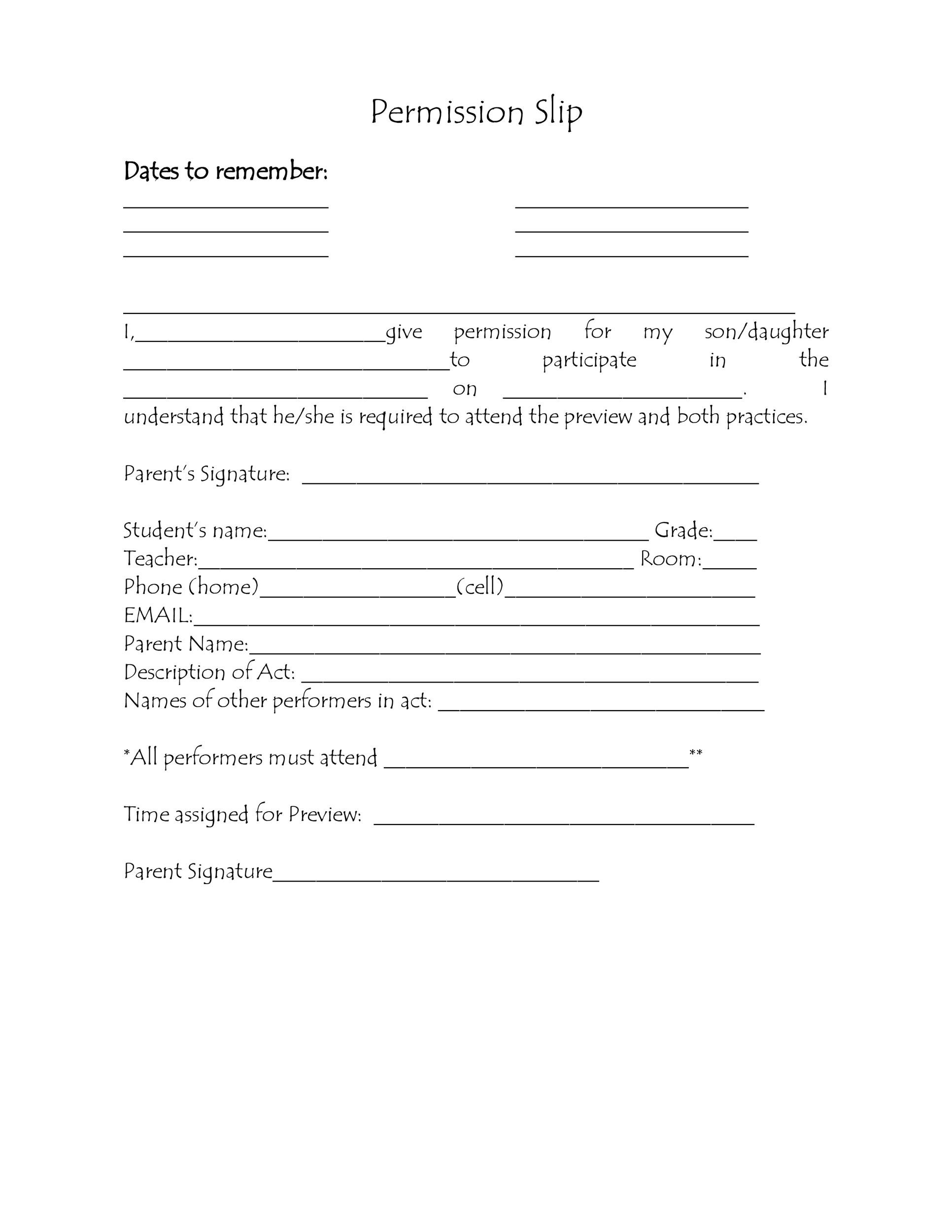 35 Permission Slip Templates \ Field Trip Forms - indemnity form template