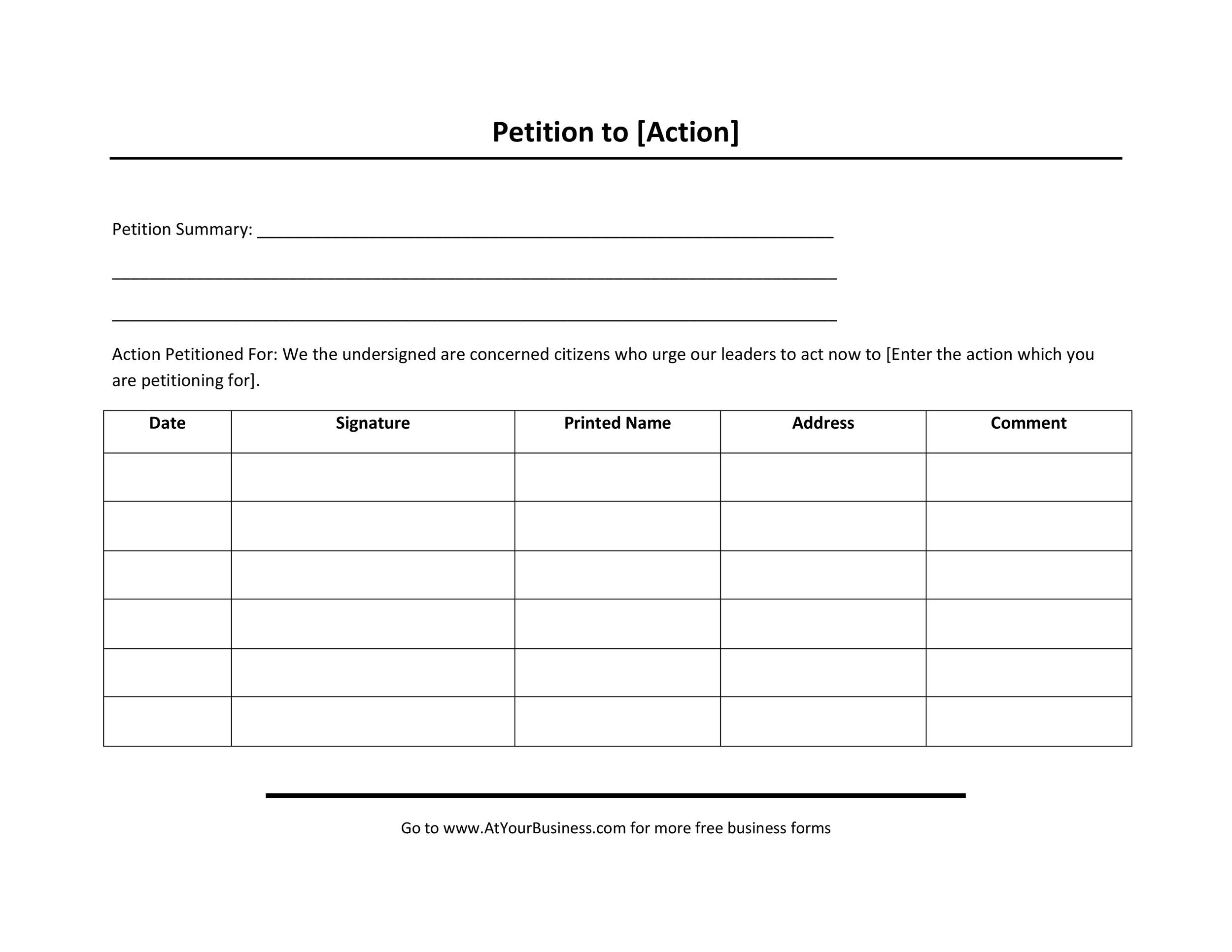 blank petition form to print - Ozilalmanoof