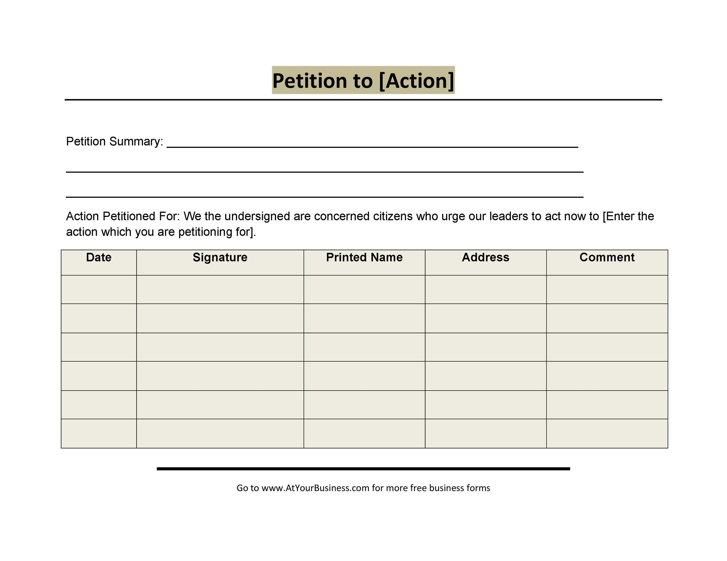 30 Petition Templates + How To Write Petition Guide - creating signers form for petition