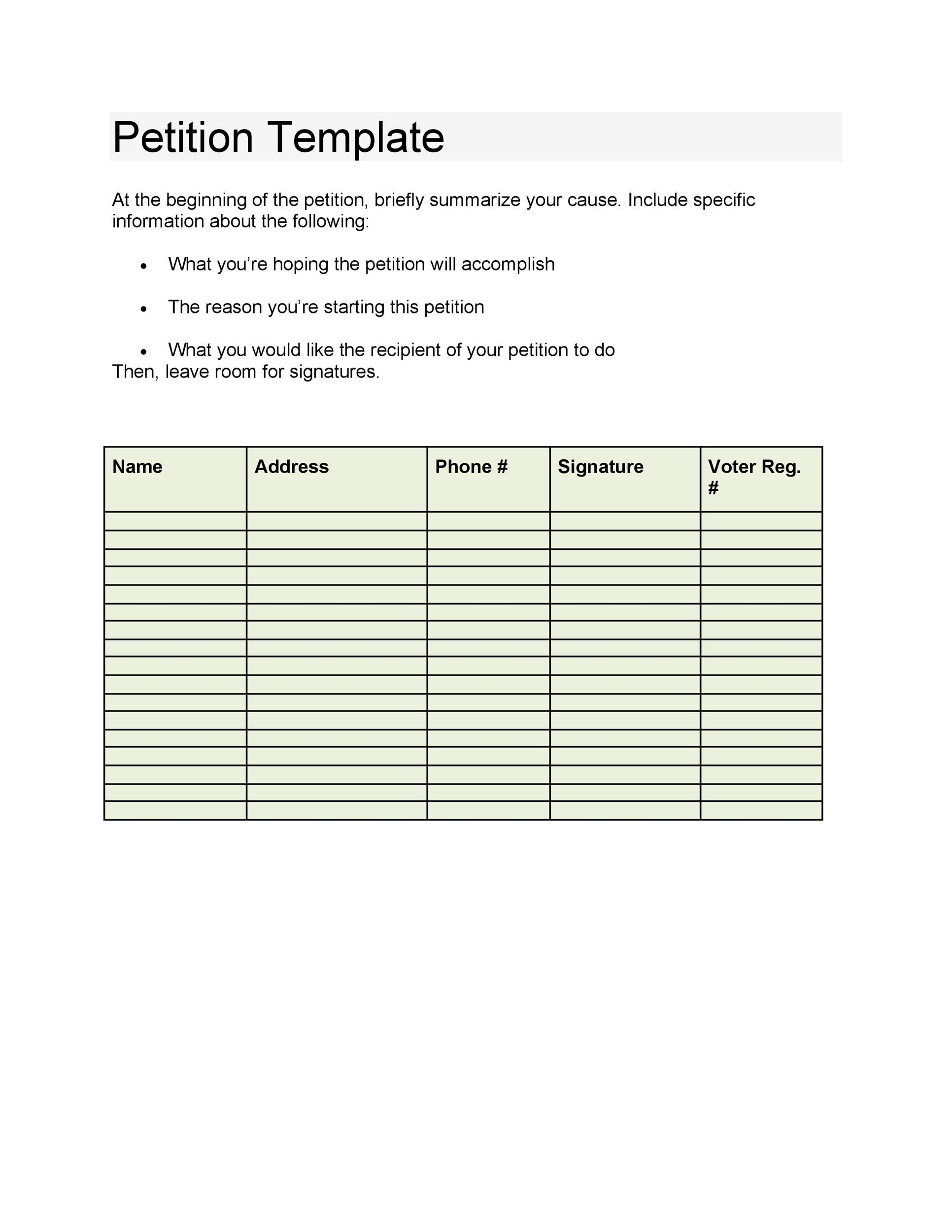 30 Petition Templates + How To Write Petition Guide - how to research your cause for writing the petition