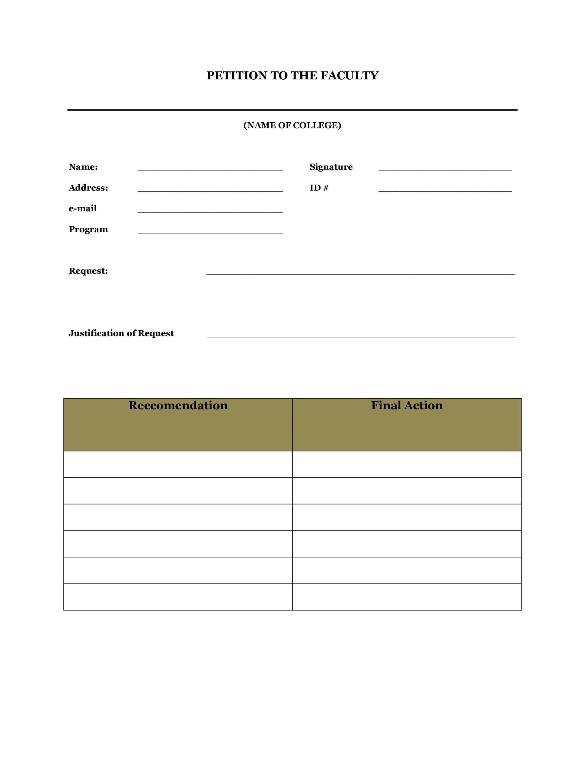 Doc#584552 Free Printable Petition Template u2013 Petition Template - free petition templates examples