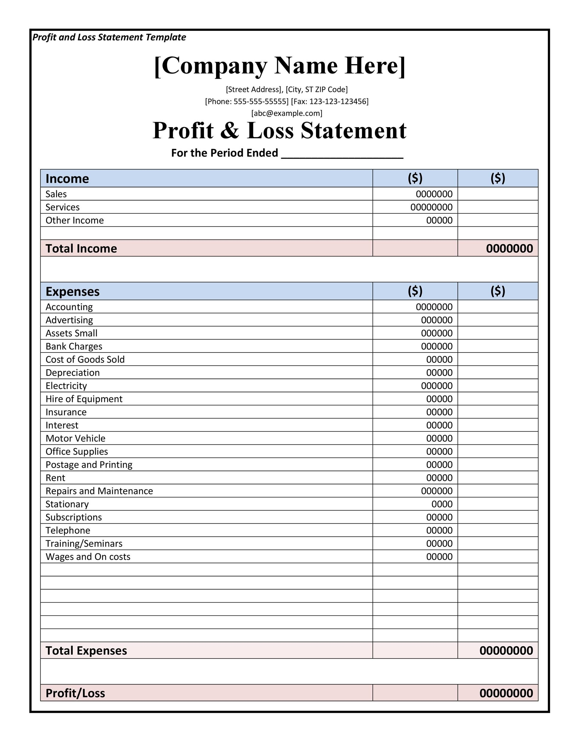 35+ Profit and Loss Statement Templates  Forms - Profit And Loss Template Word