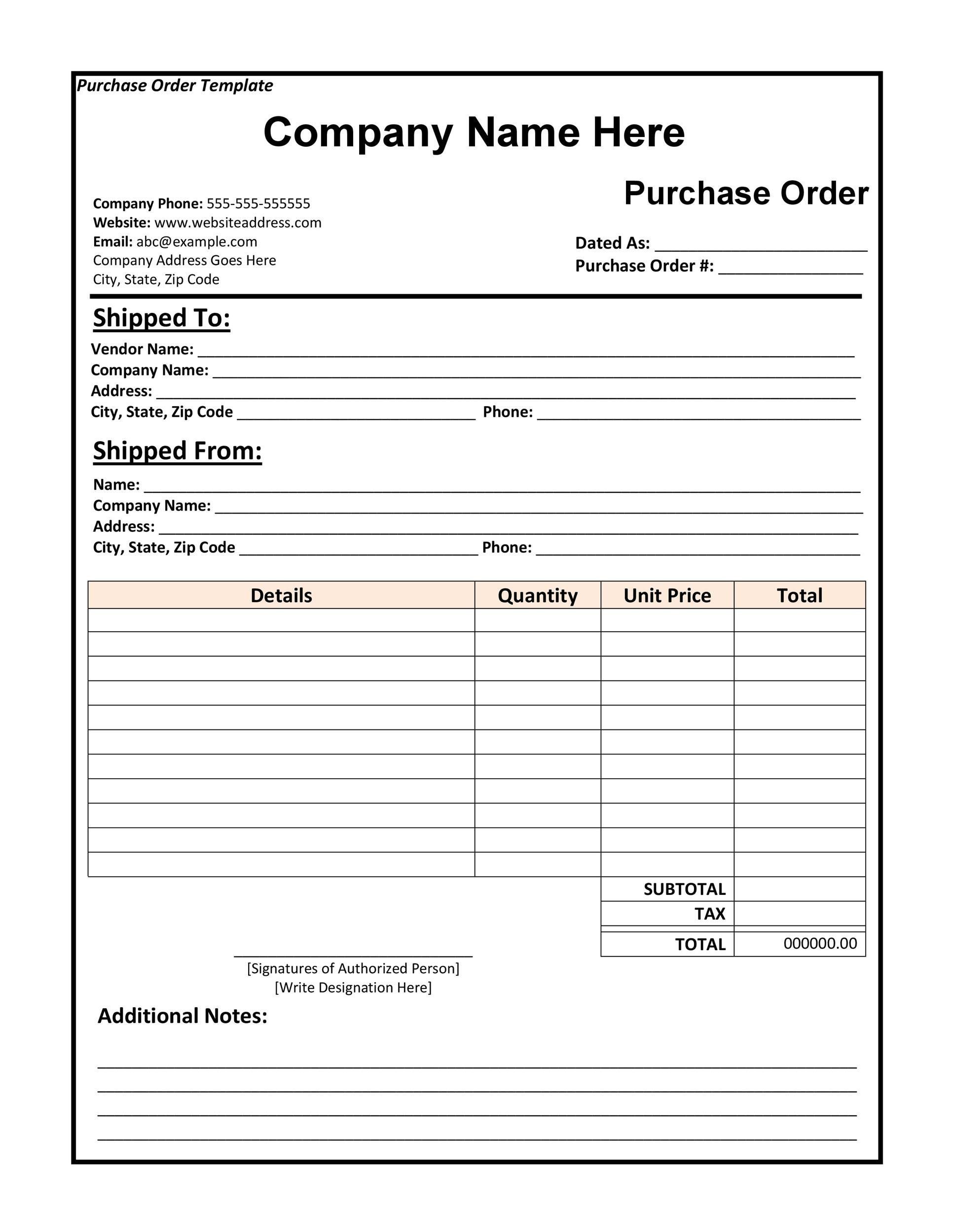 37 Free Purchase Order Templates in Word  Excel - local purchase order template
