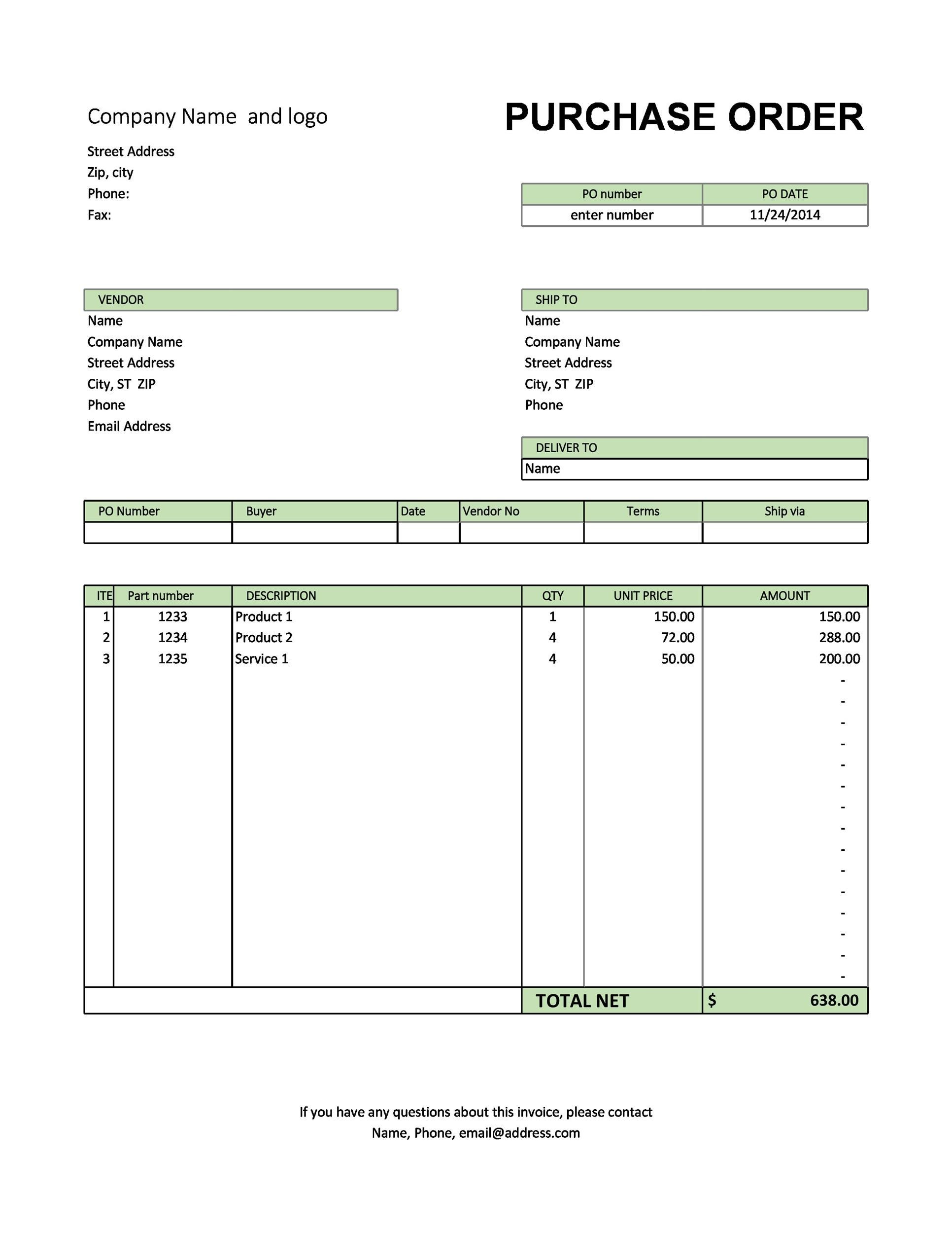 37 Free Purchase Order Templates in Word  Excel - excel po template