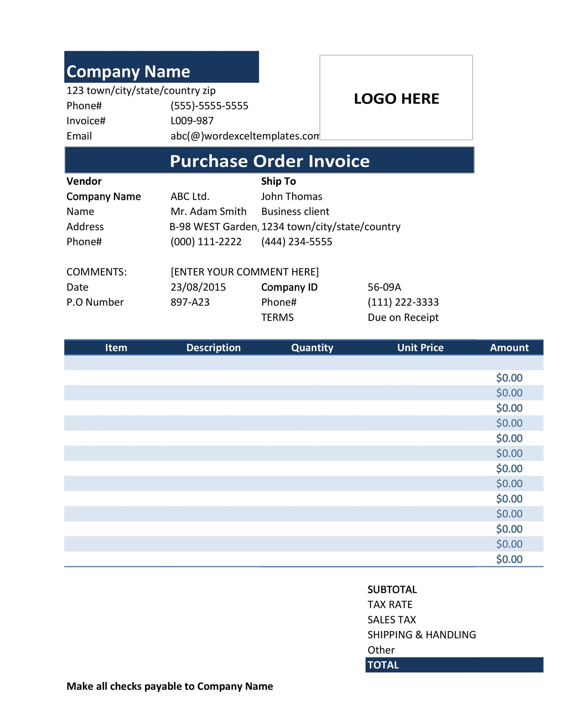 37 Free Purchase Order Templates in Word  Excel - po form template