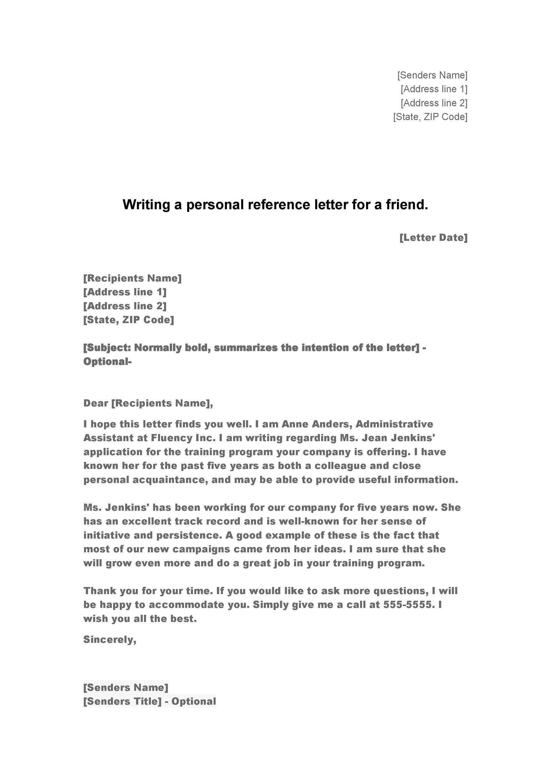 how to write a personal reference letter for a job - Maggi