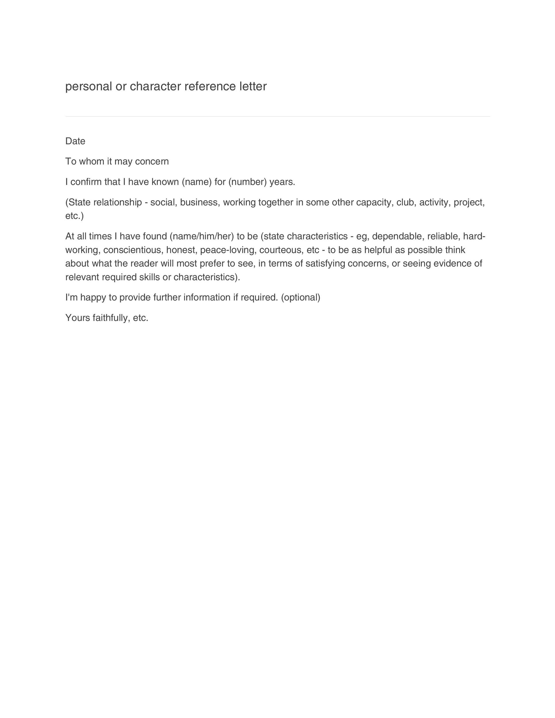 Sample Character Reference Letter Template Reference Letter For - letter of reference
