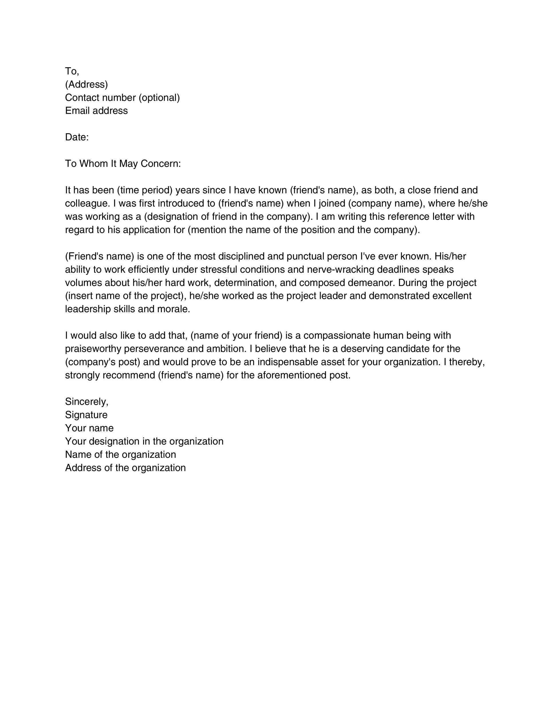 40+ Awesome Personal / Character Reference Letter Templates FREE - letter of recommendation templates
