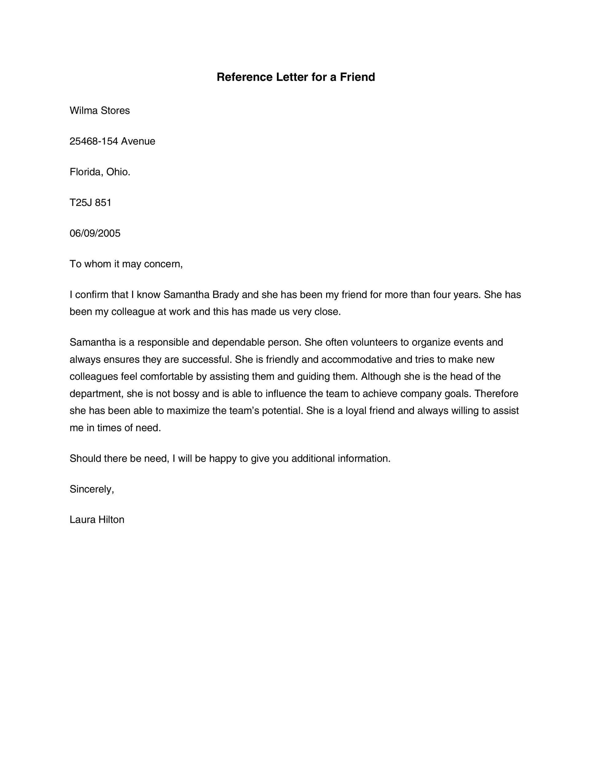 40+ Awesome Personal / Character Reference Letter Templates FREE - how to format a reference letter