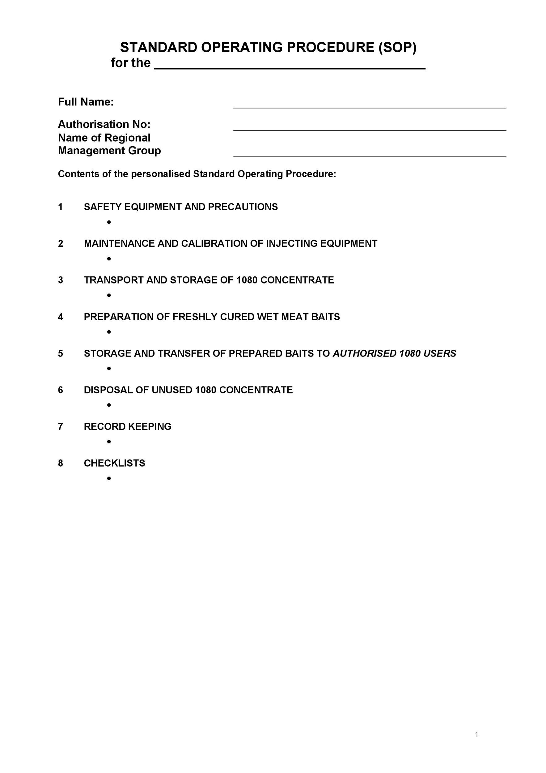 standard operating procedures templates - Canasbergdorfbib