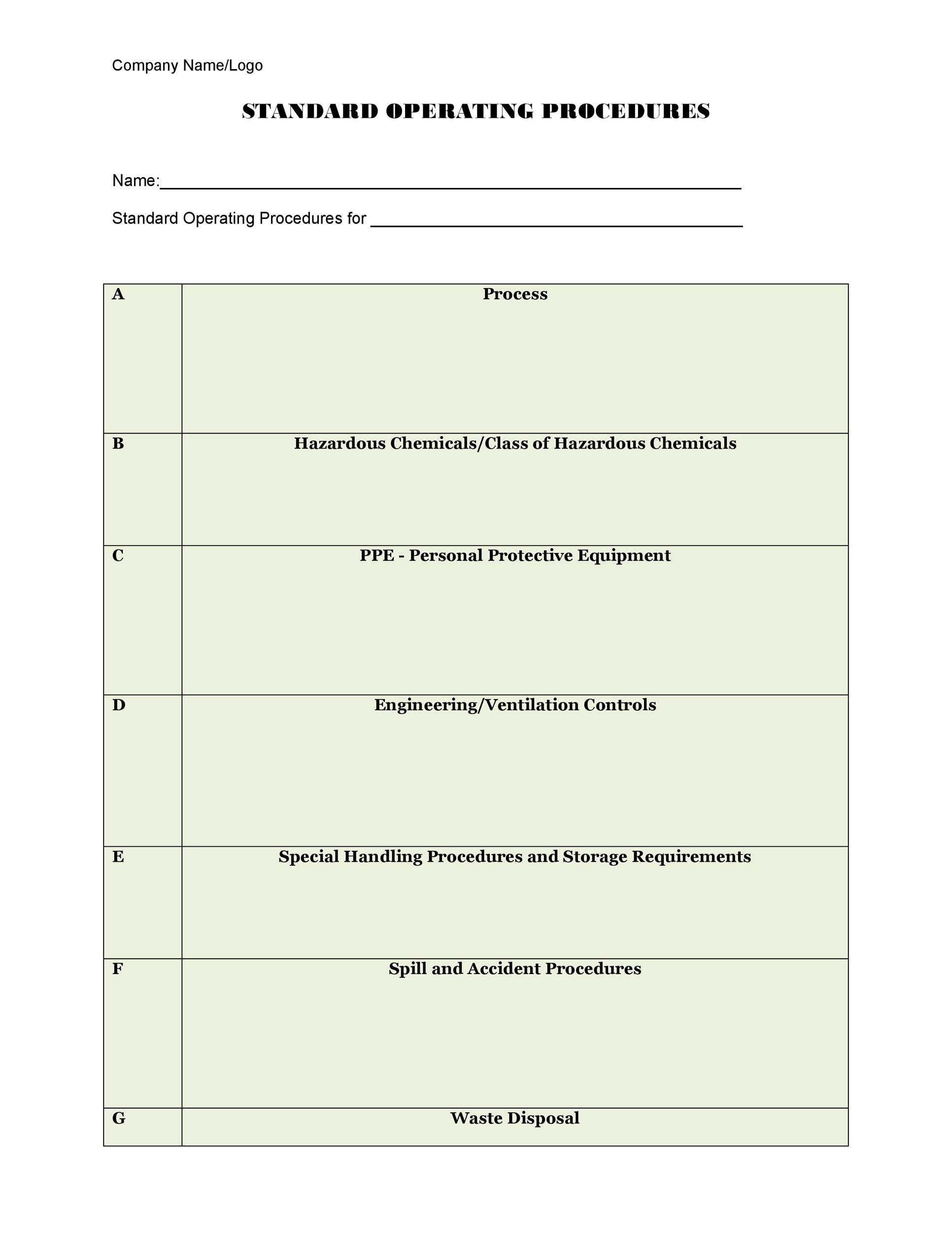 37 Best Standard Operating Procedure (SOP) Templates - method of procedure template