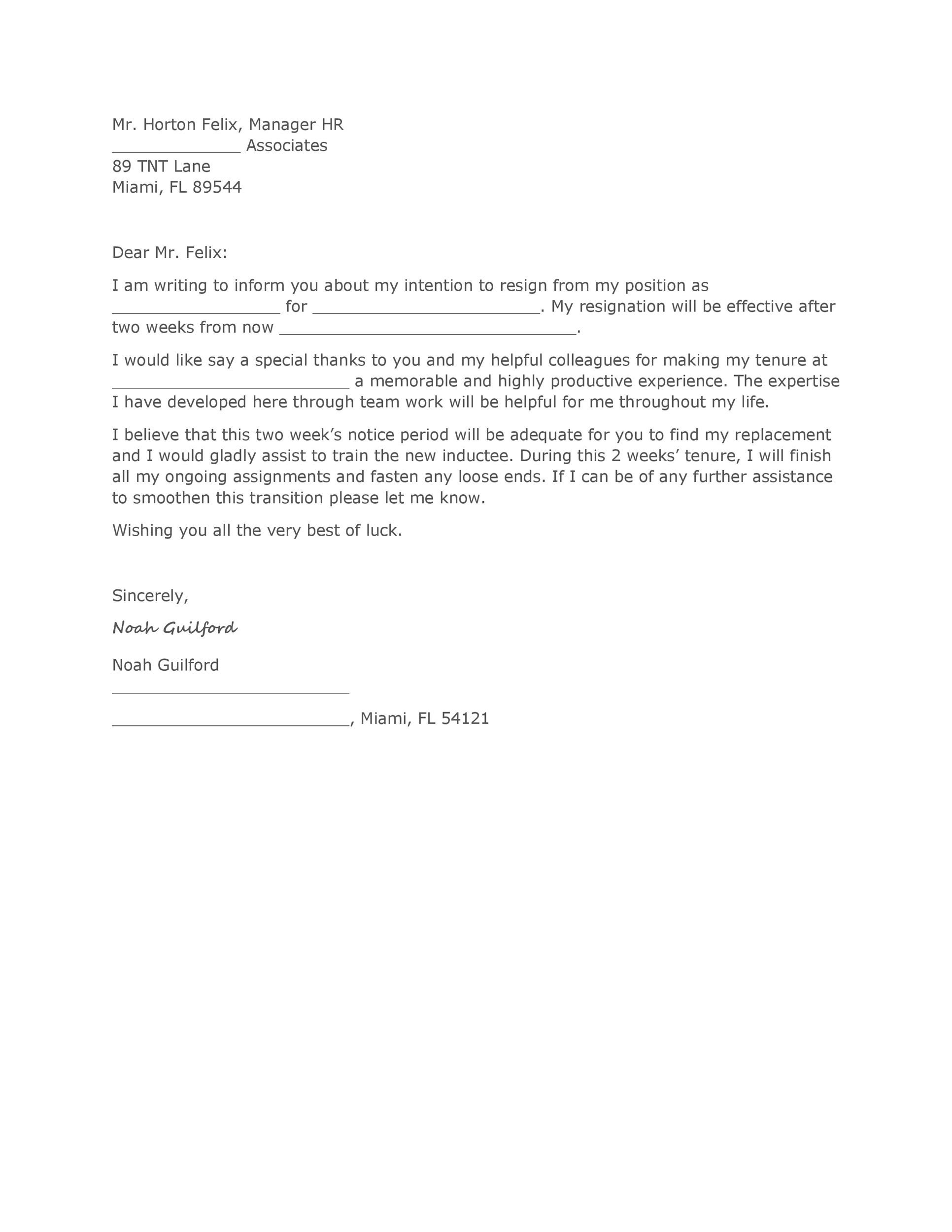 40 Two Weeks Notice Letters  Resignation Letter Templates - two week resignation letter sample