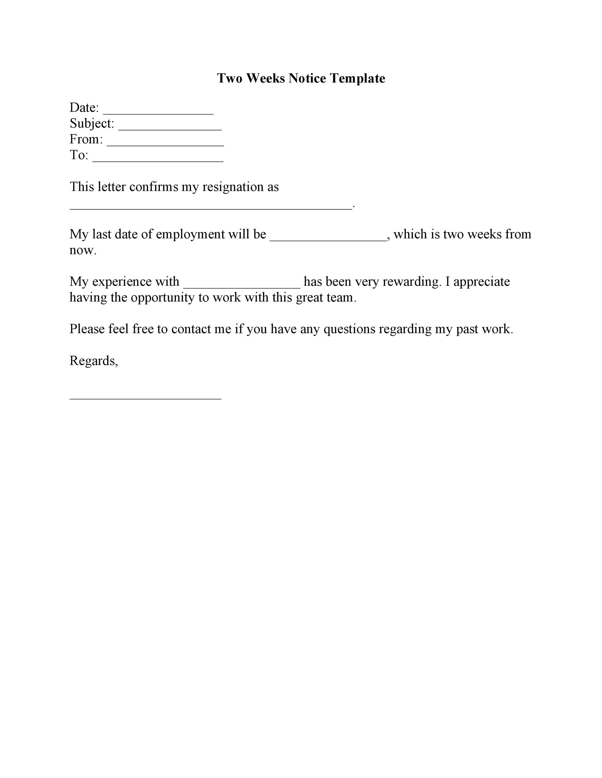 40 Two Weeks Notice Letters  Resignation Letter Templates - 2 Weeks Notice Template