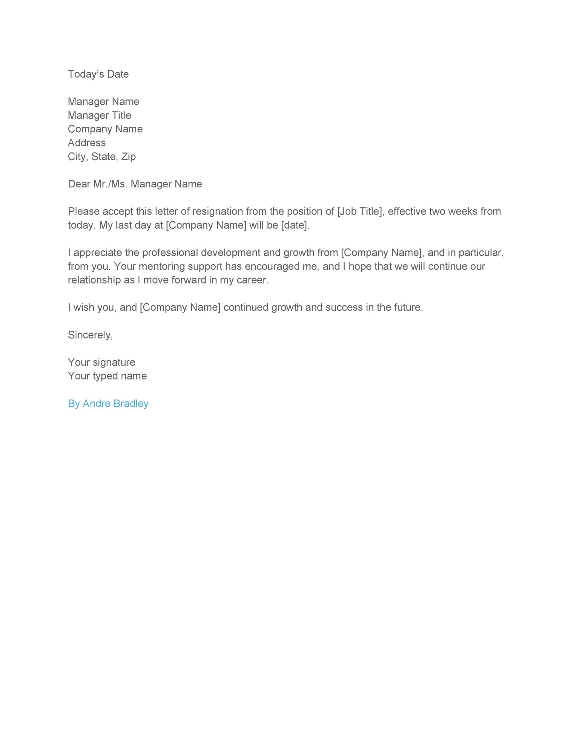 40 Two Weeks Notice Letters  Resignation Letter Templates - Example Letters Of Resignation