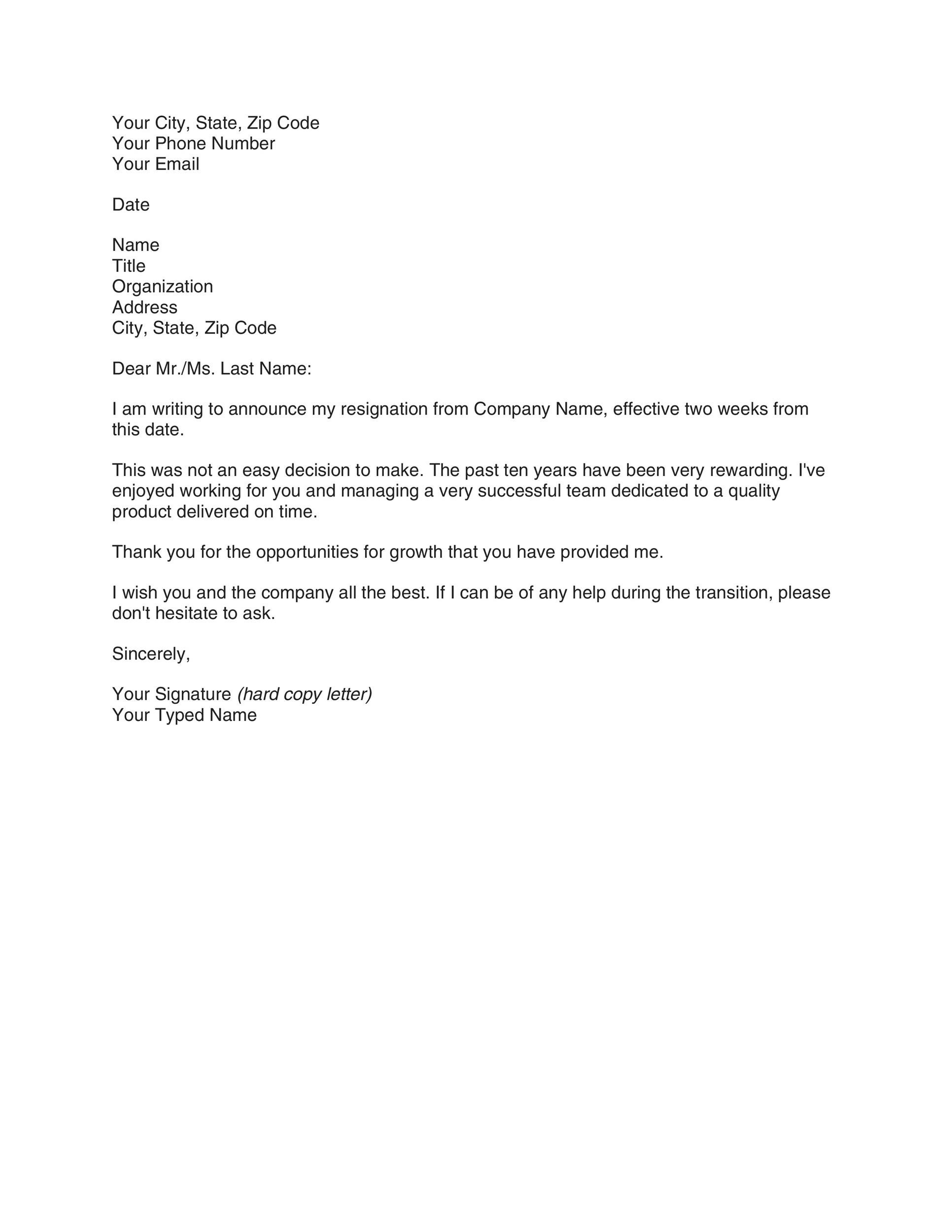 40 Two Weeks Notice Letters  Resignation Letter Templates - email reference letter template
