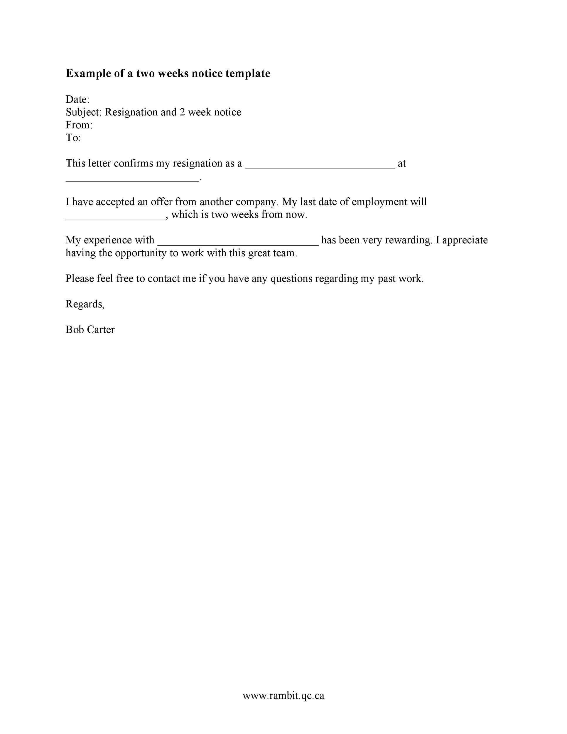 40 Two Weeks Notice Letters  Resignation Letter Templates - two weeks template