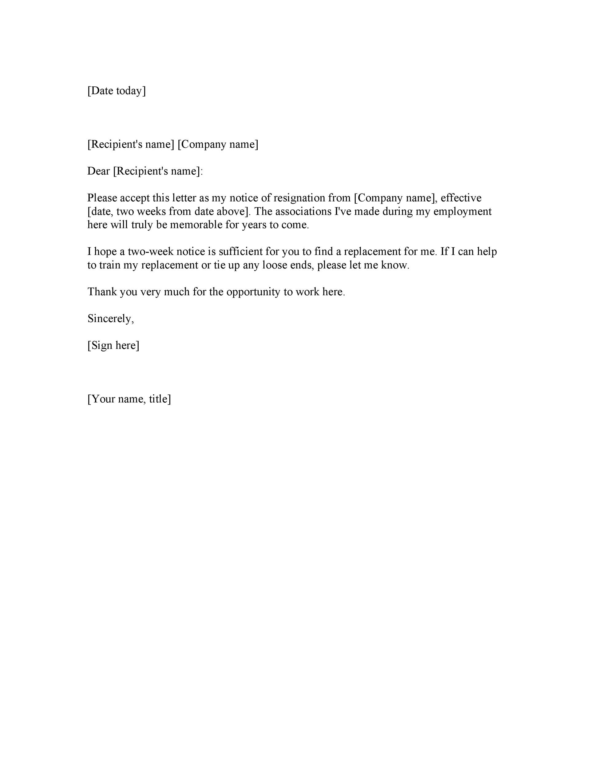 40 Two Weeks Notice Letters  Resignation Letter Templates - sample resignation letter 2 weeks notice