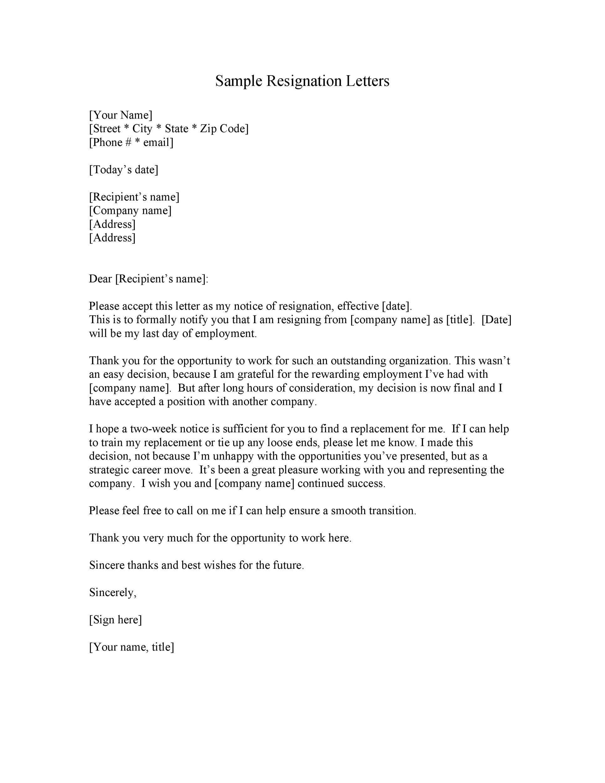 40 Two Weeks Notice Letters  Resignation Letter Templates - example of resignation letters