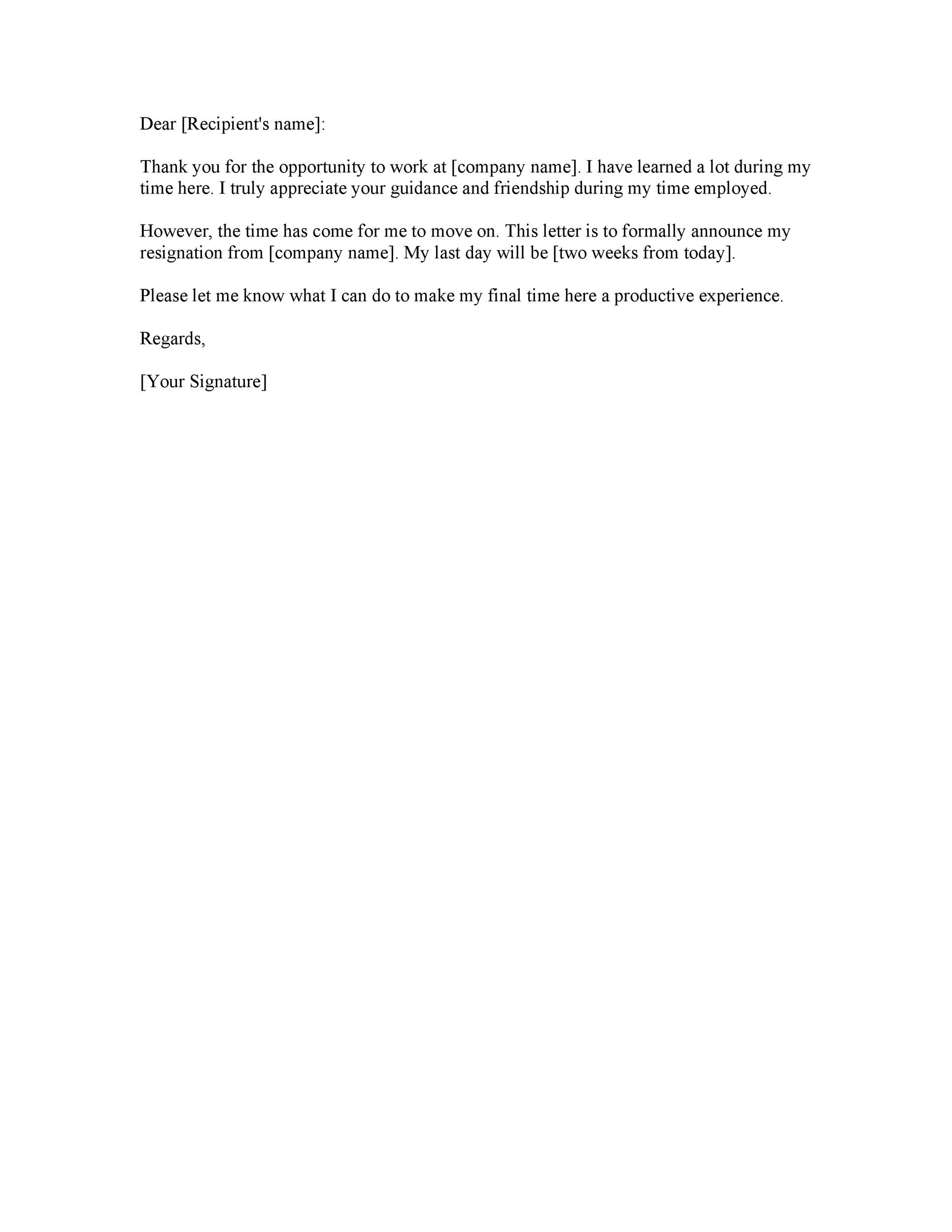 40 Two Weeks Notice Letters  Resignation Letter Templates - resignation letter 2 week notice