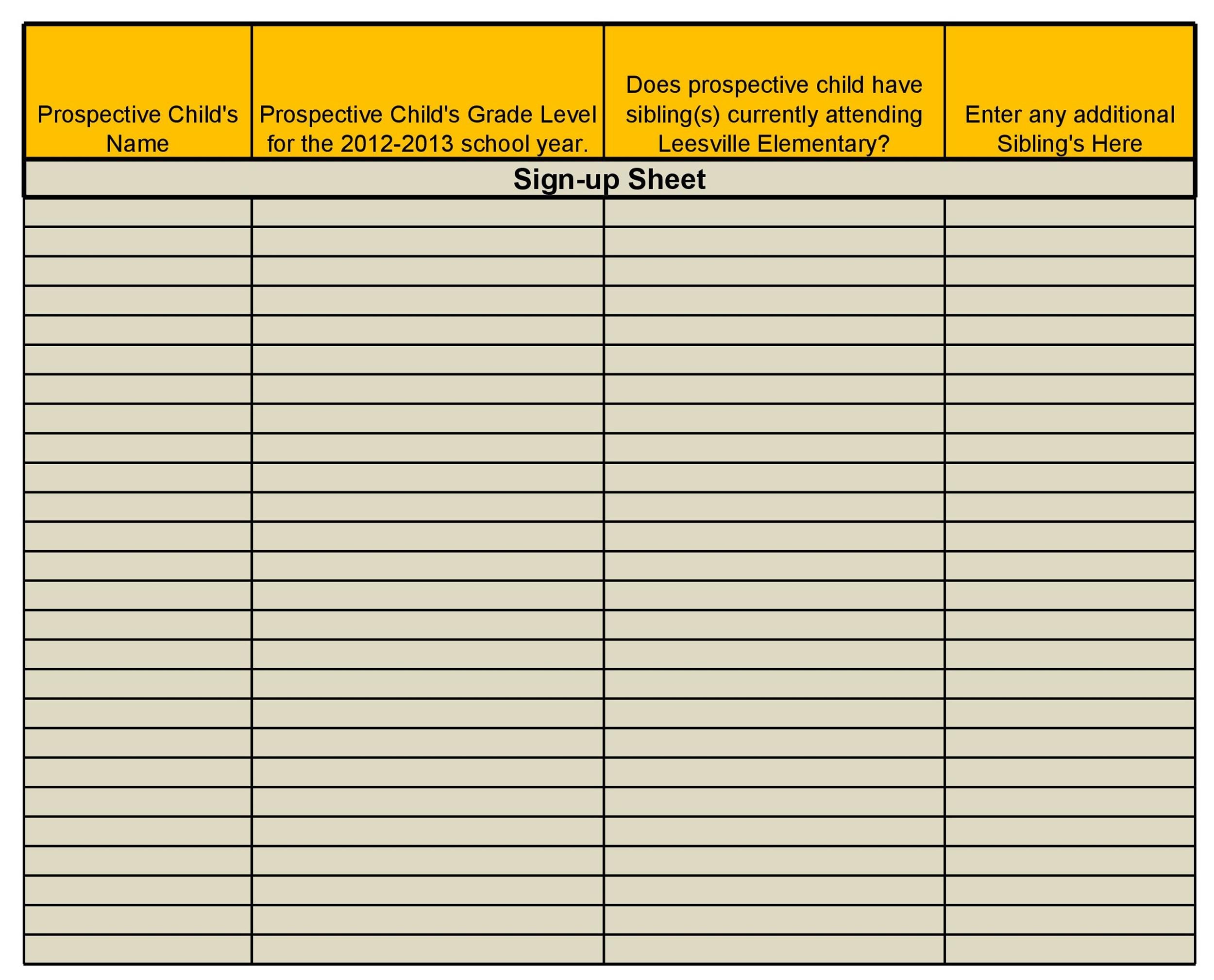 40 Sign Up Sheet / Sign In Sheet Templates (Word  Excel) - sample school sign in sheet