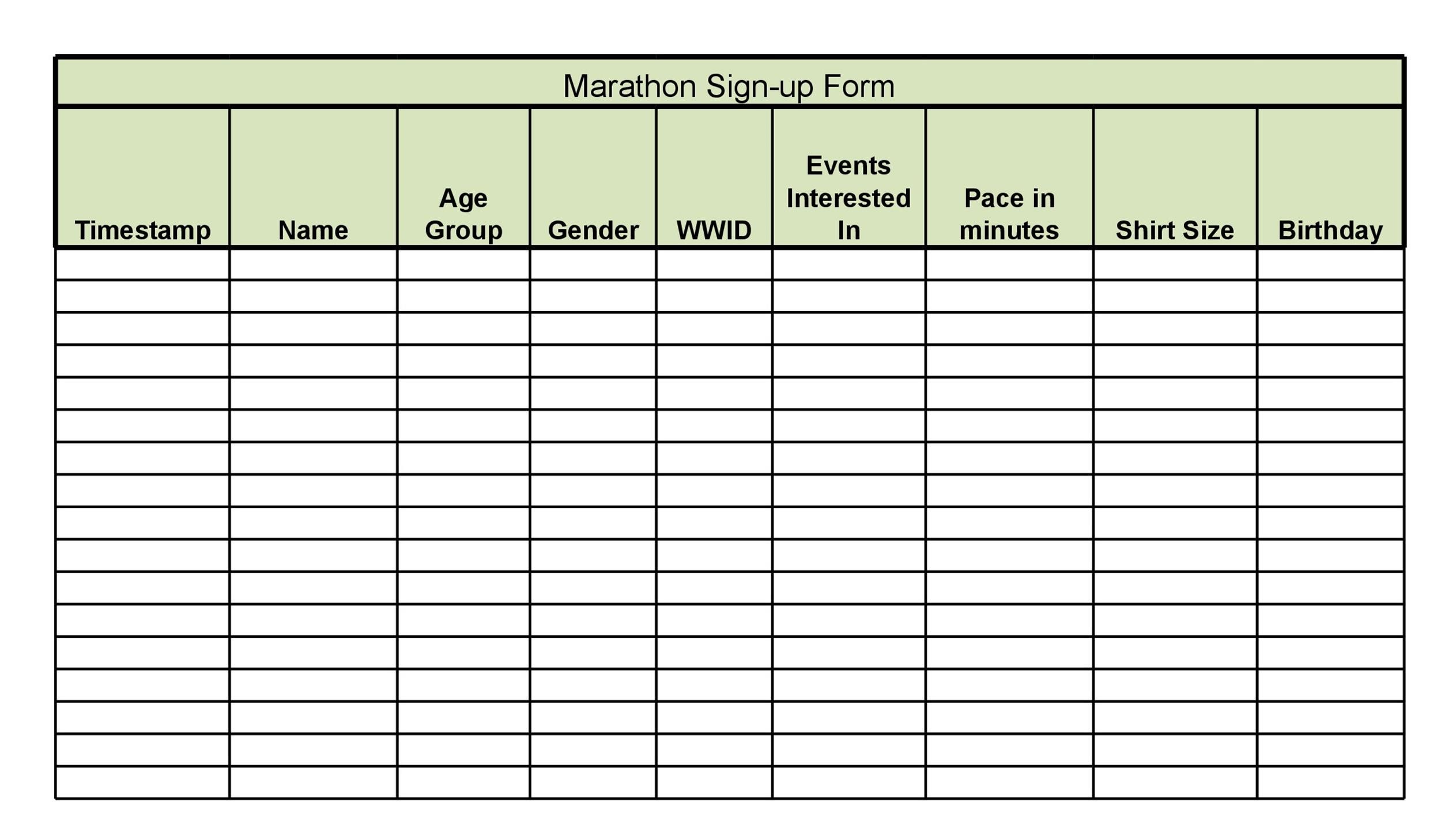 40 Sign Up Sheet / Sign In Sheet Templates (Word  Excel) - free printable sign up sheet template