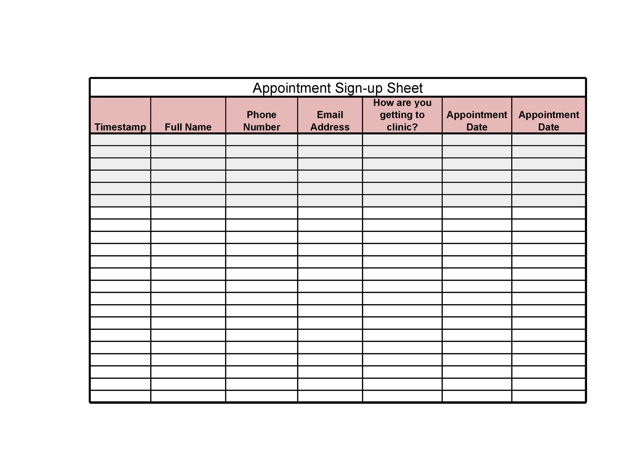 40 Sign Up Sheet / Sign In Sheet Templates (Word  Excel) - doctor sign in sheet