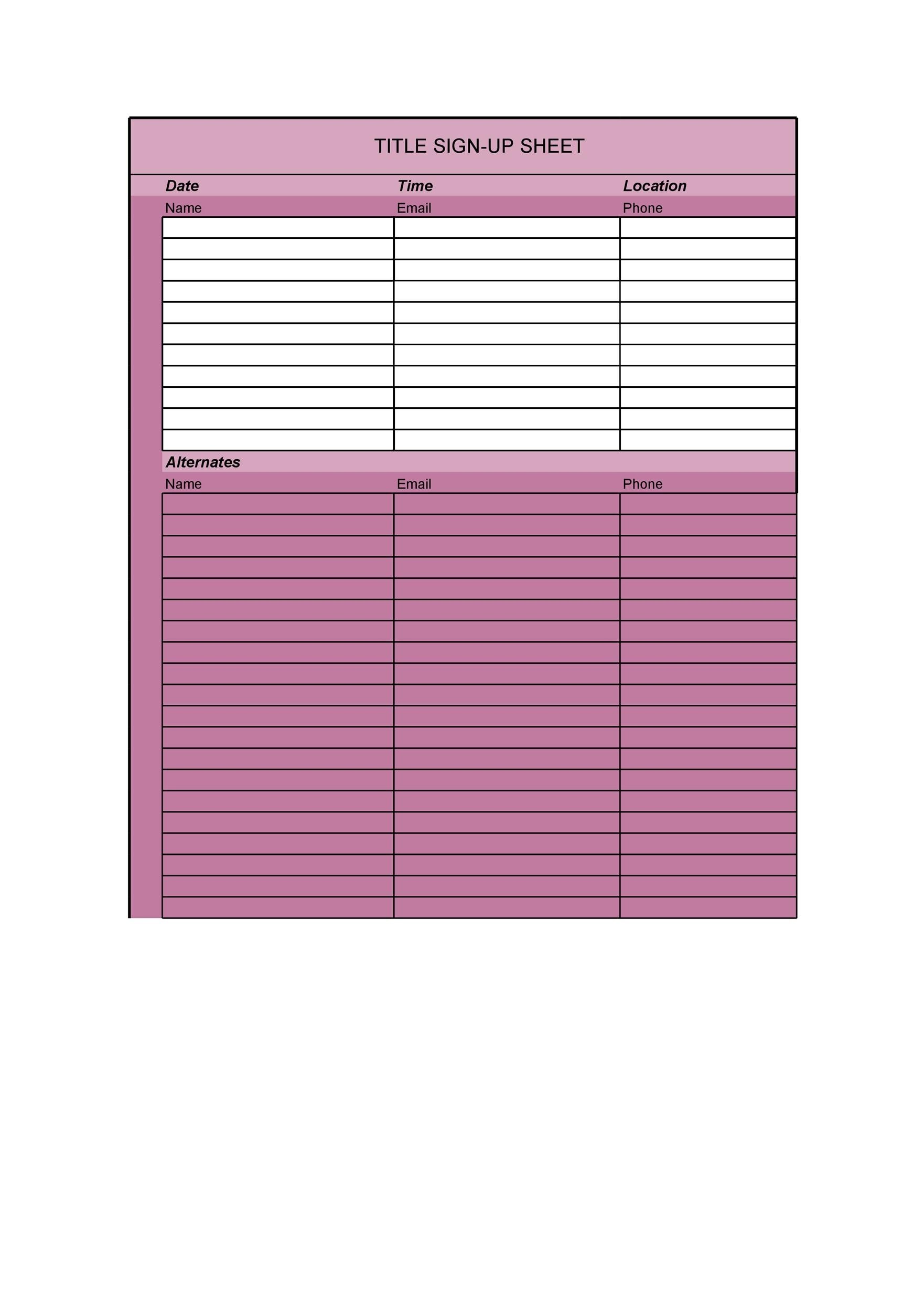 40 Sign Up Sheet / Sign In Sheet Templates (Word  Excel)