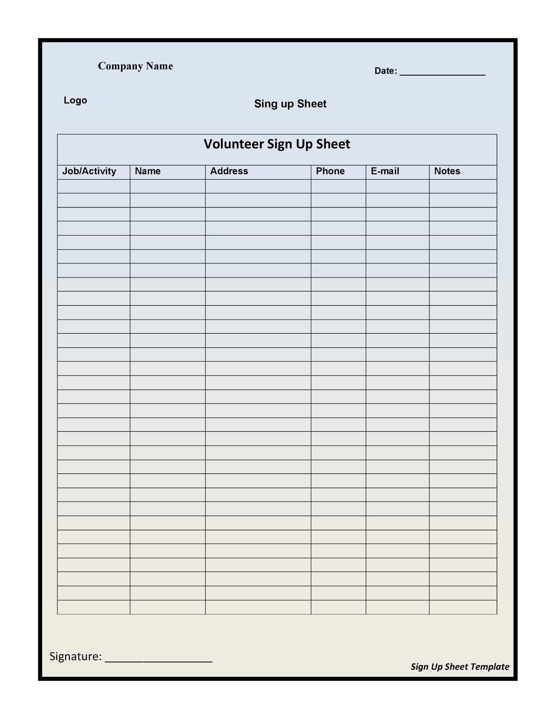 40 Sign Up Sheet \/ Sign In Sheet Templates (Word \ Excel) - email sign up sheet template word