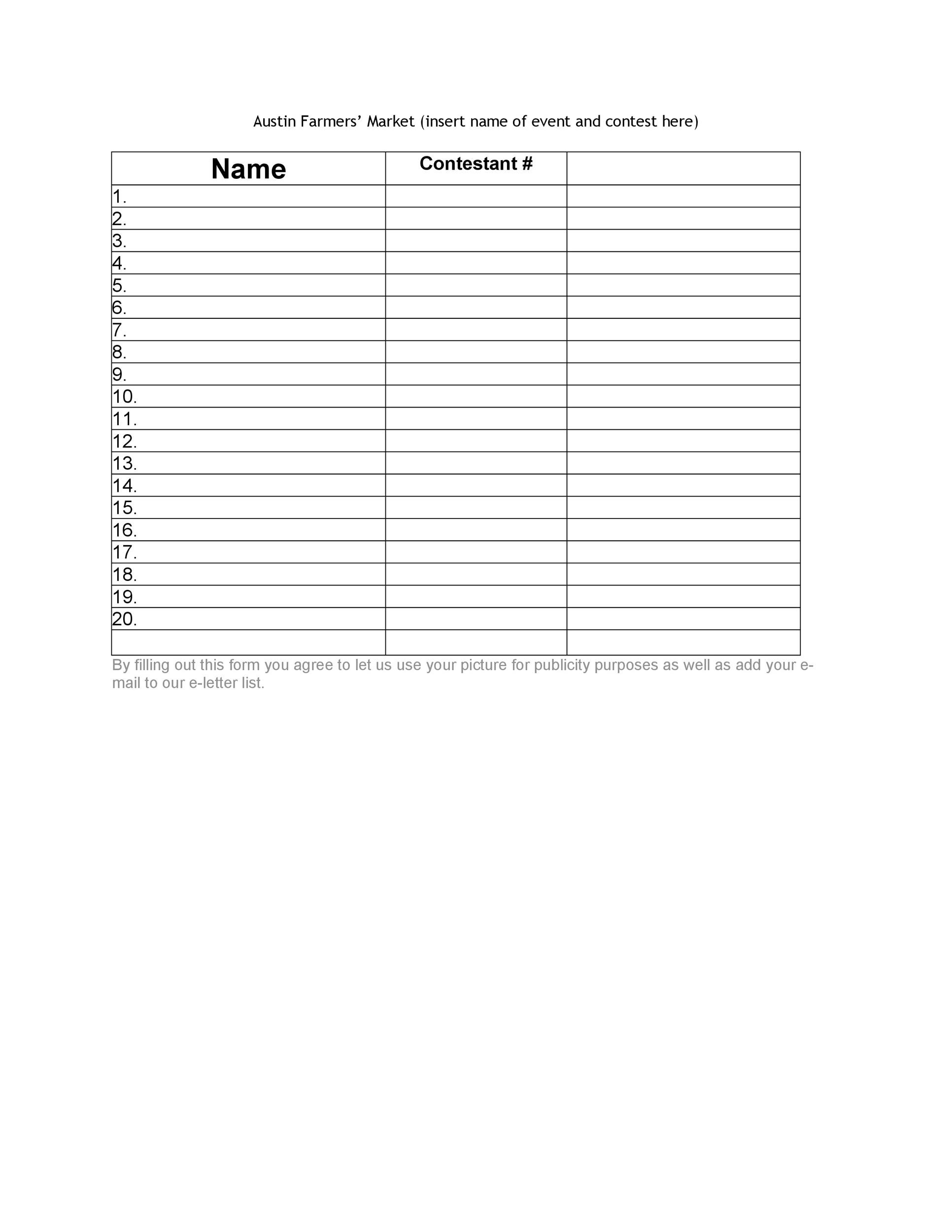 40 Sign Up Sheet / Sign In Sheet Templates (Word  Excel) - conference sign up sheet template