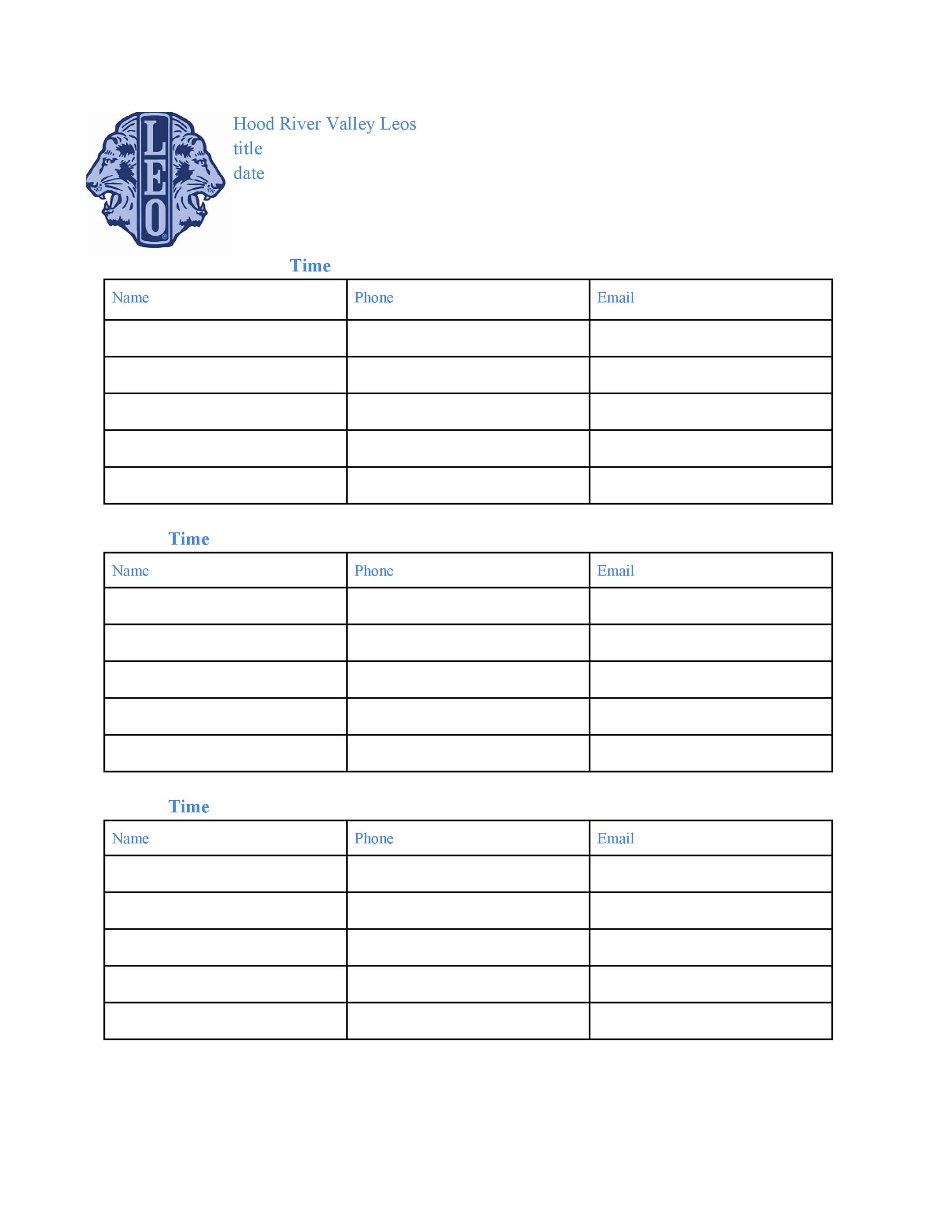 40 Sign Up Sheet / Sign In Sheet Templates (Word  Excel) - committee sign up sheet template