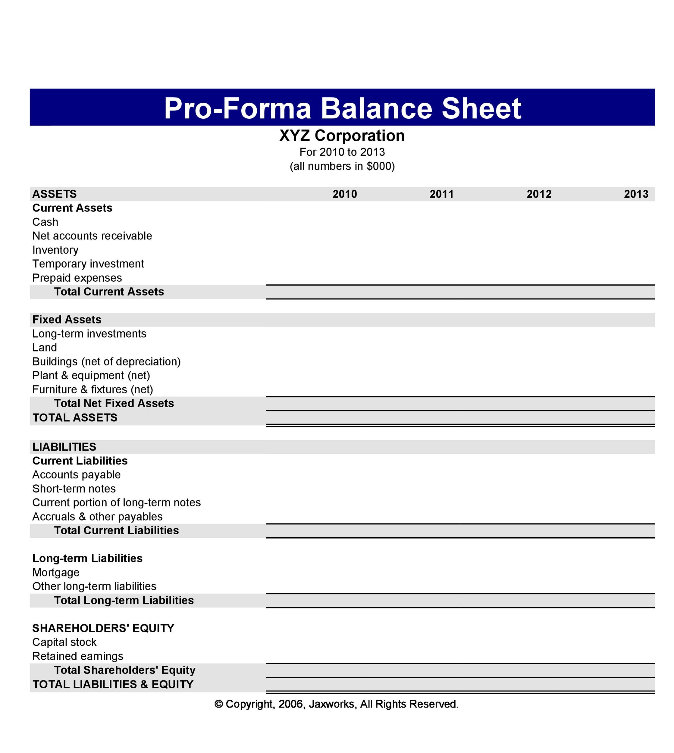 38 Free Balance Sheet Templates  Examples - Template Lab