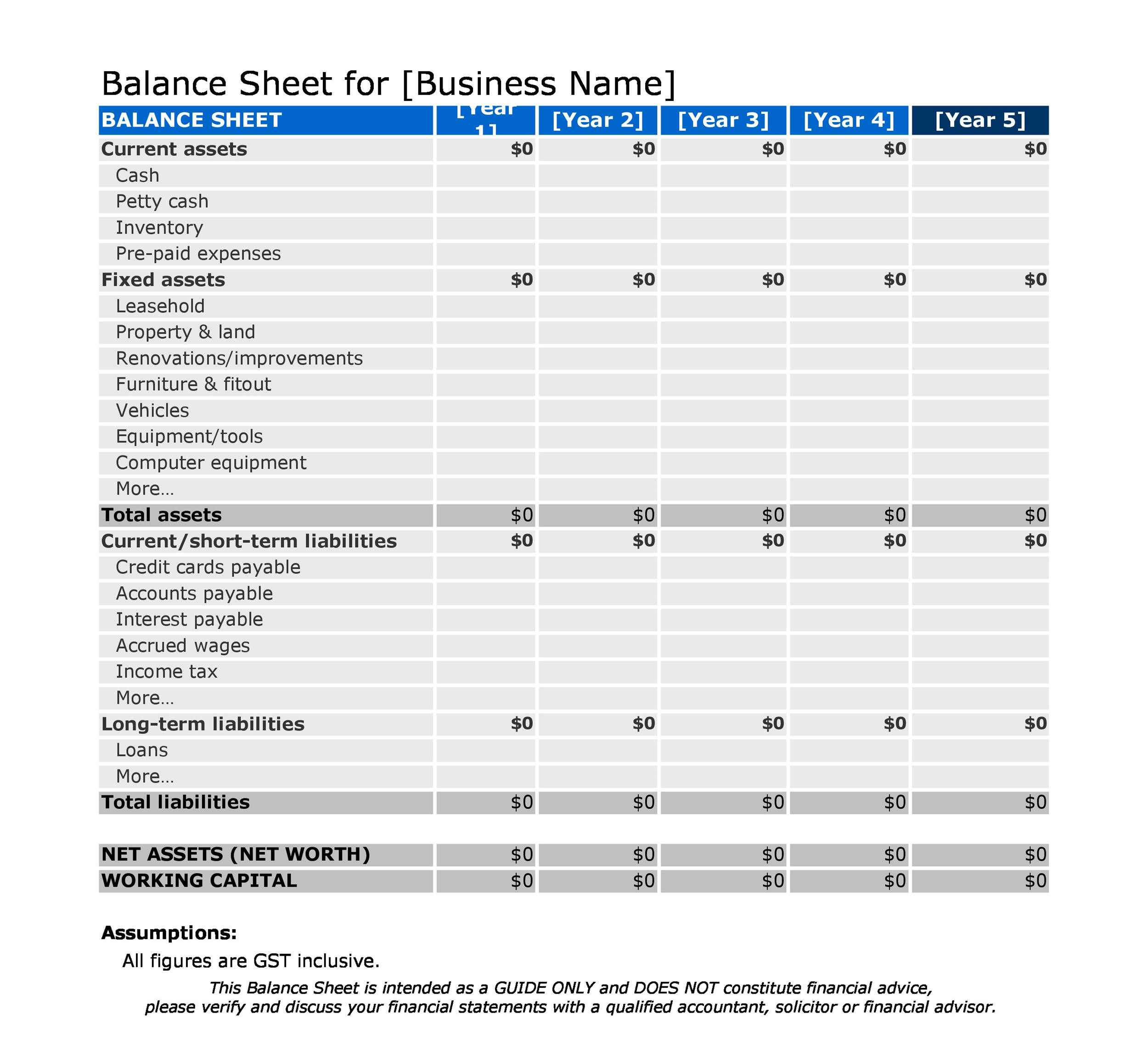 sample balance sheet xls - Ozilalmanoof