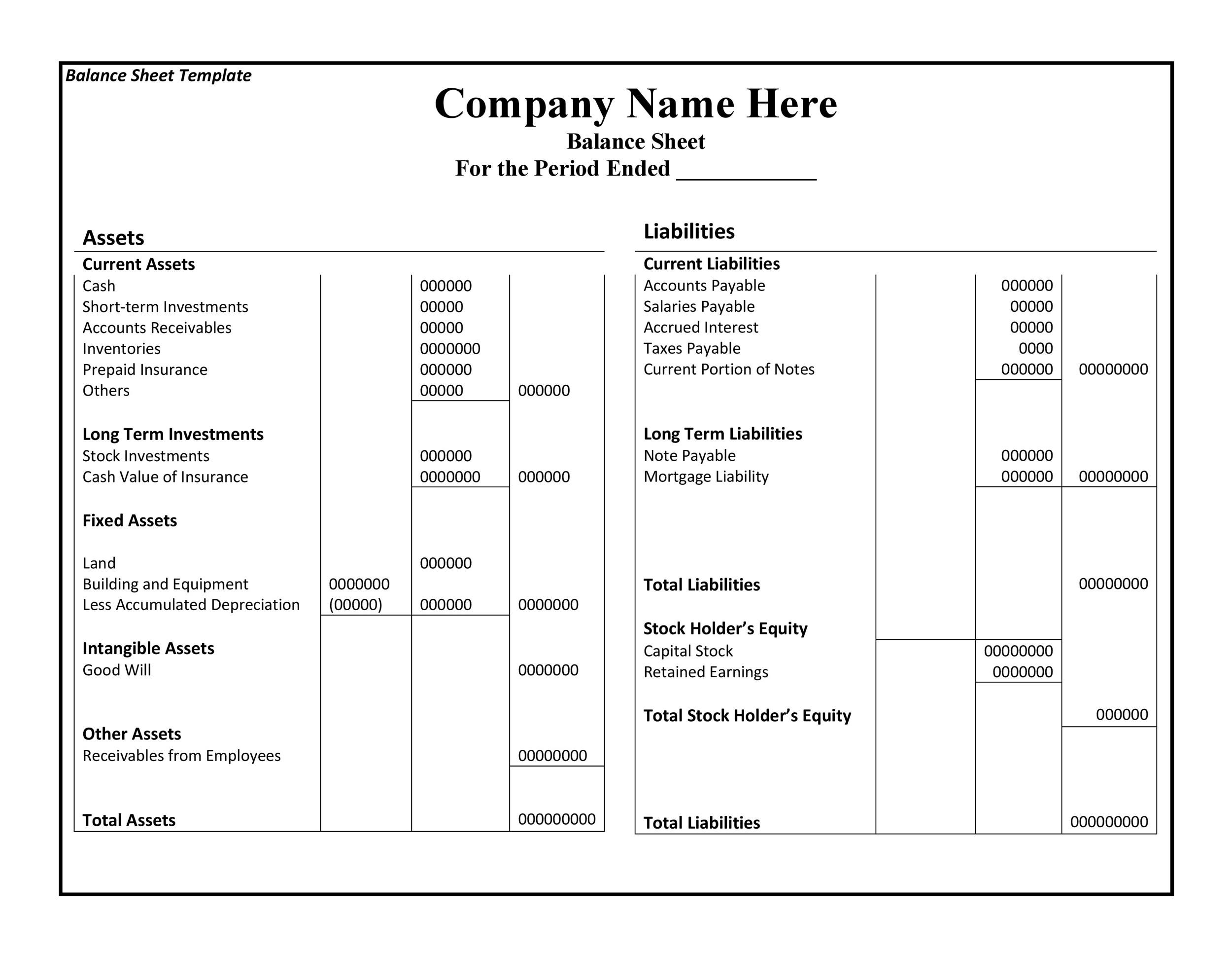 38 Free Balance Sheet Templates  Examples ᐅ Template Lab