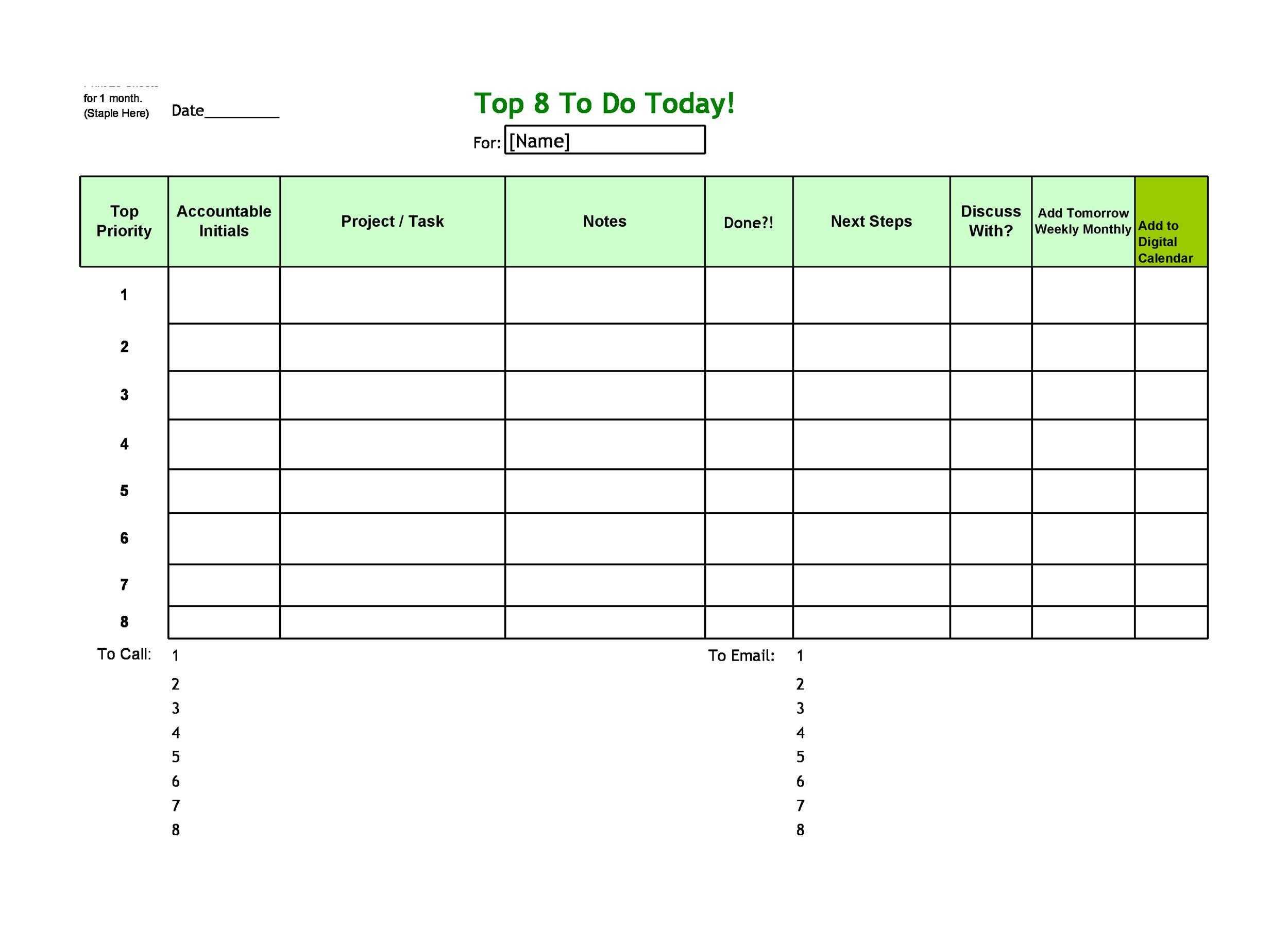 50+ Printable To Do List \ Checklist Templates (Excel + Word) - weekly checklist
