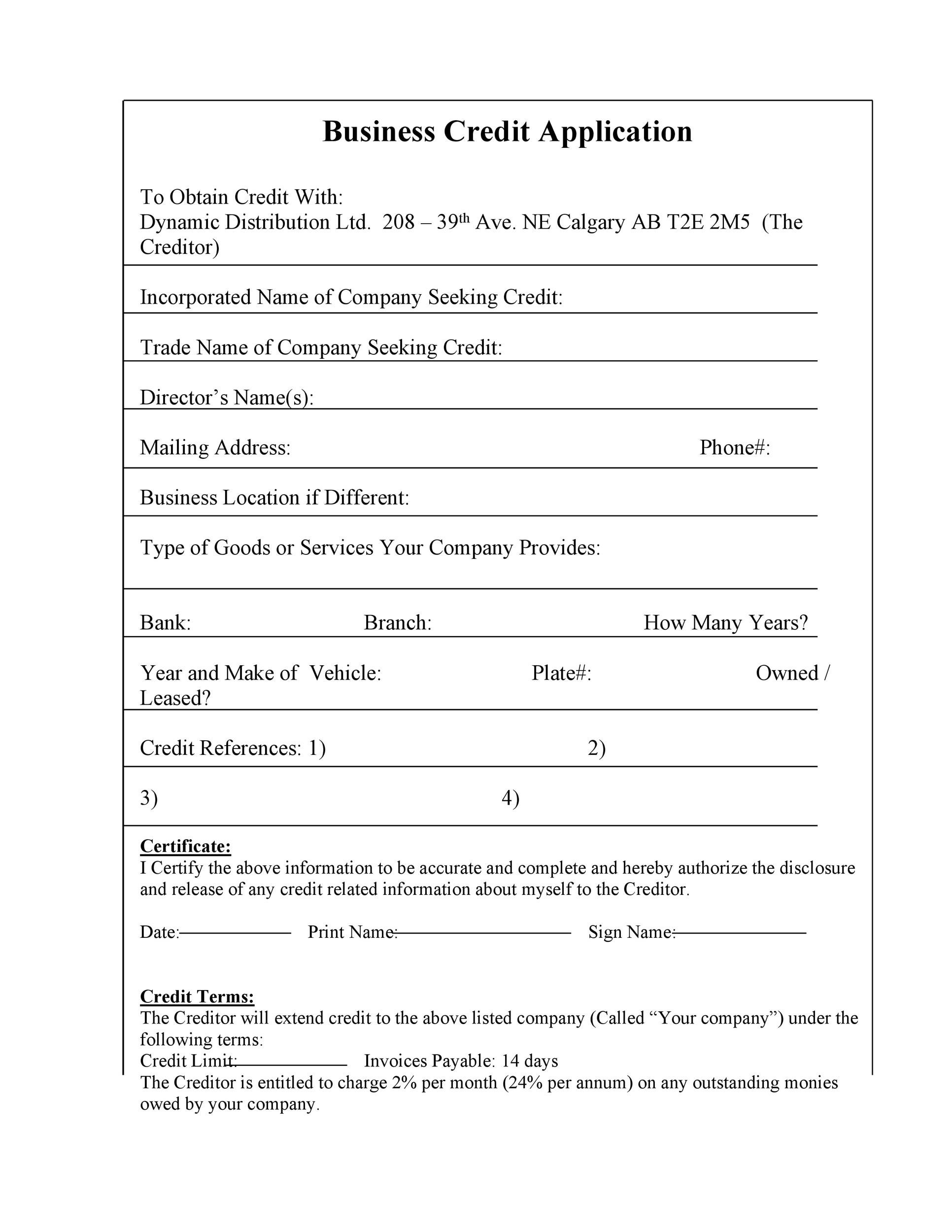 40 Free Credit Application Form Templates  Samples - credit application form