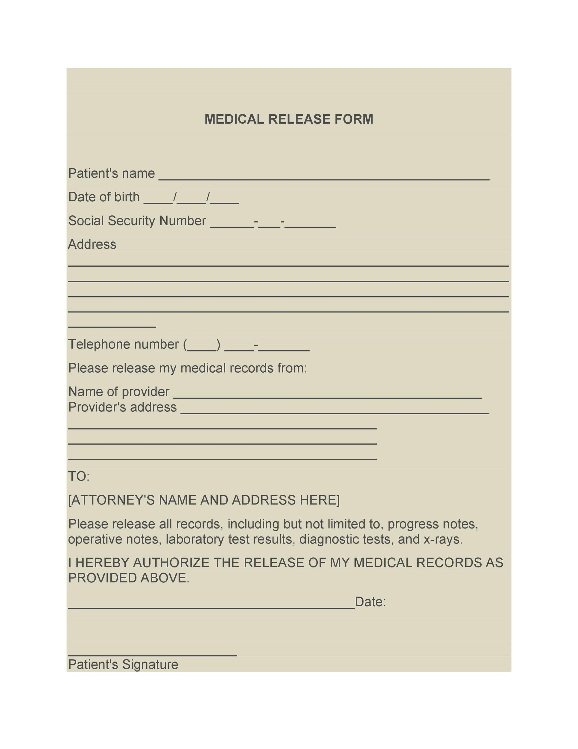 30+ Medical Release Form Templates - Template Lab - medical release of information form template