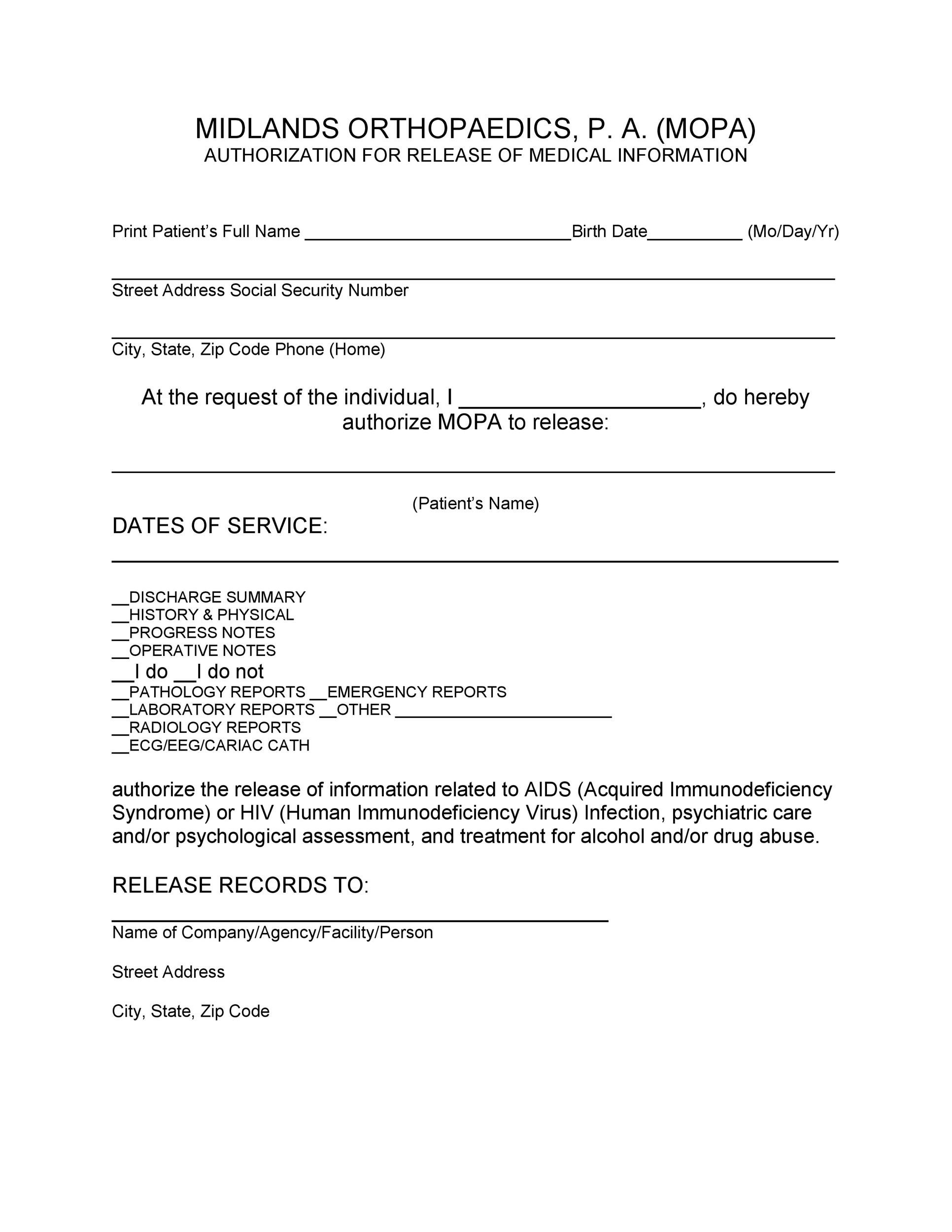 30+ Medical Release Form Templates - Template Lab - medical release form sample