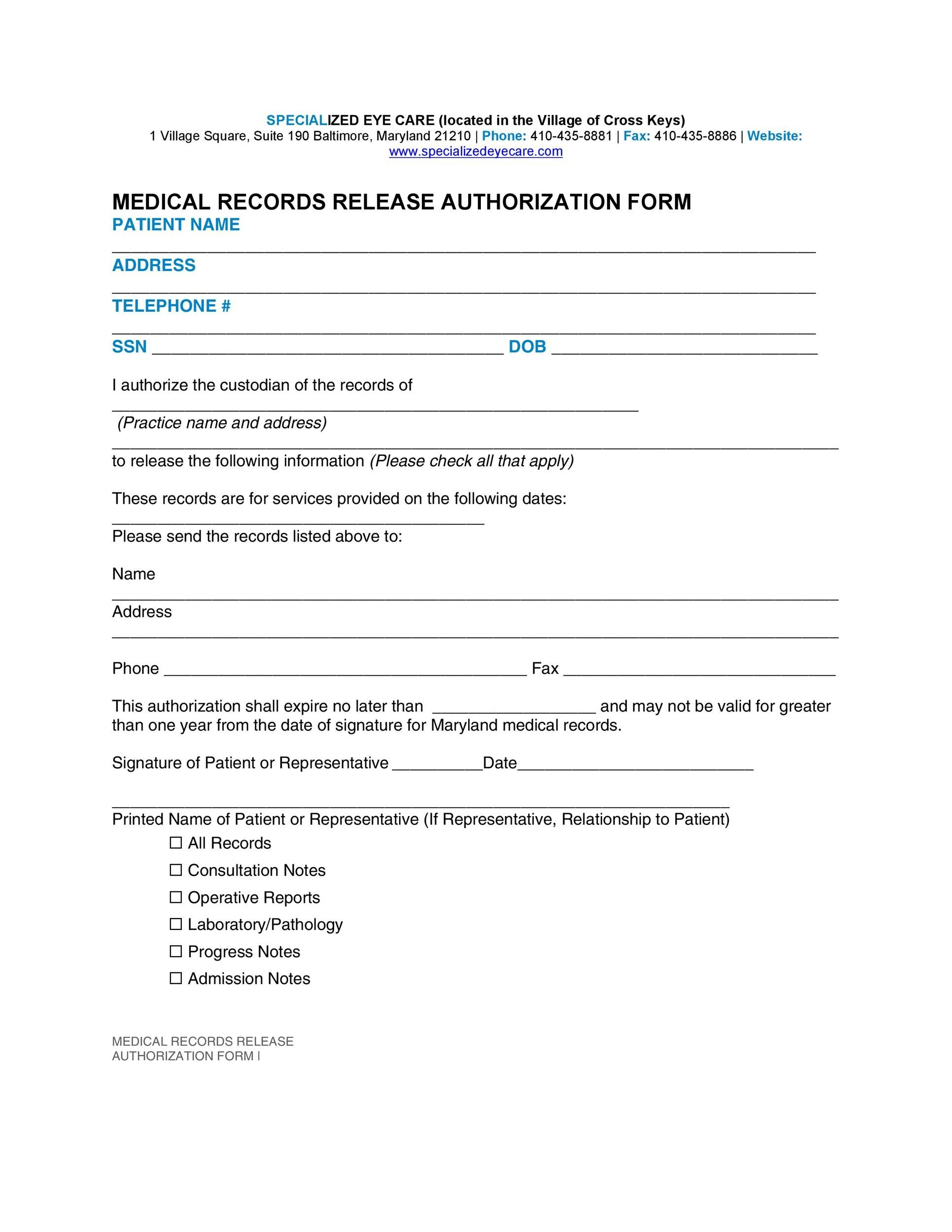 30+ Medical Release Form Templates ᐅ Template Lab