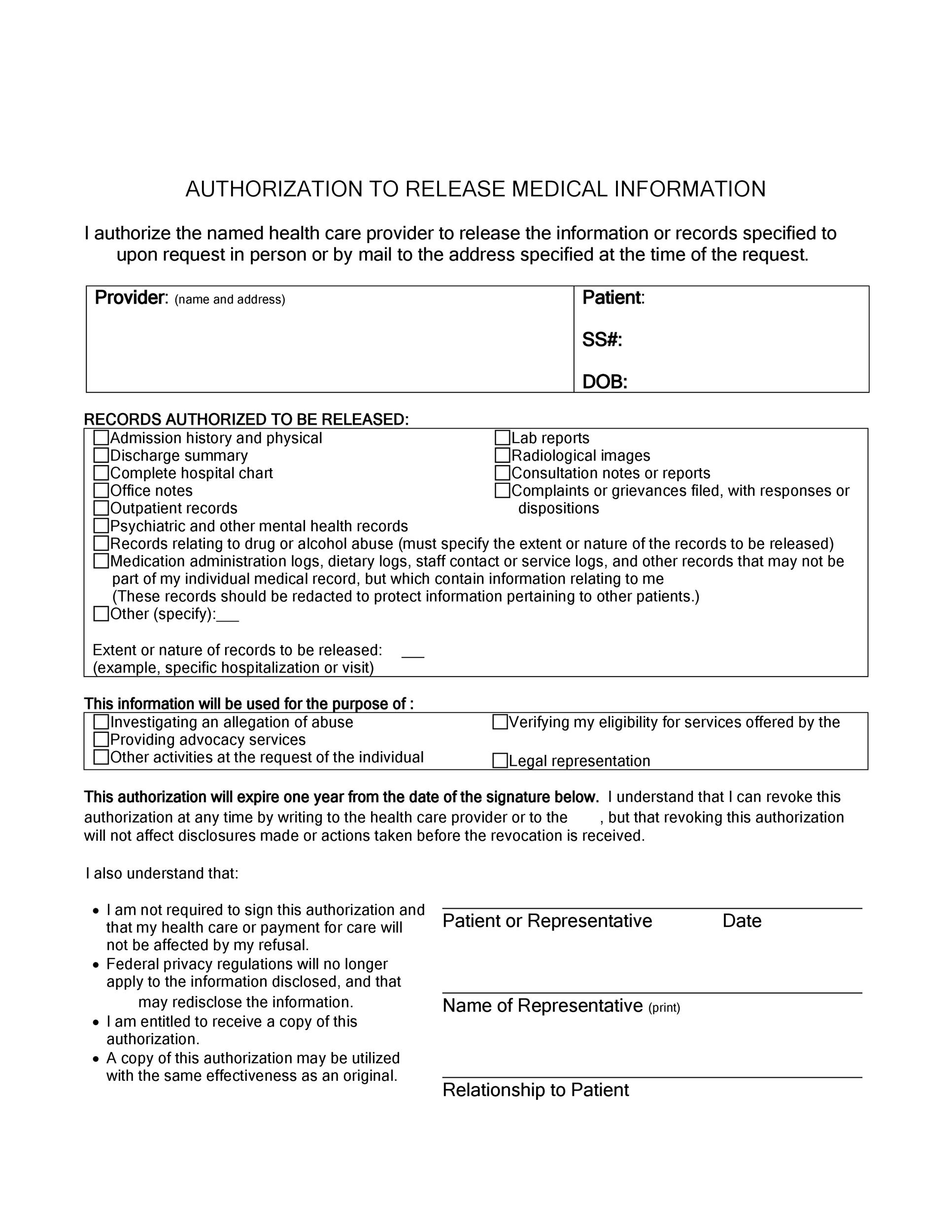 30+ Medical Release Form Templates - Template Lab - Medical Information Release Form