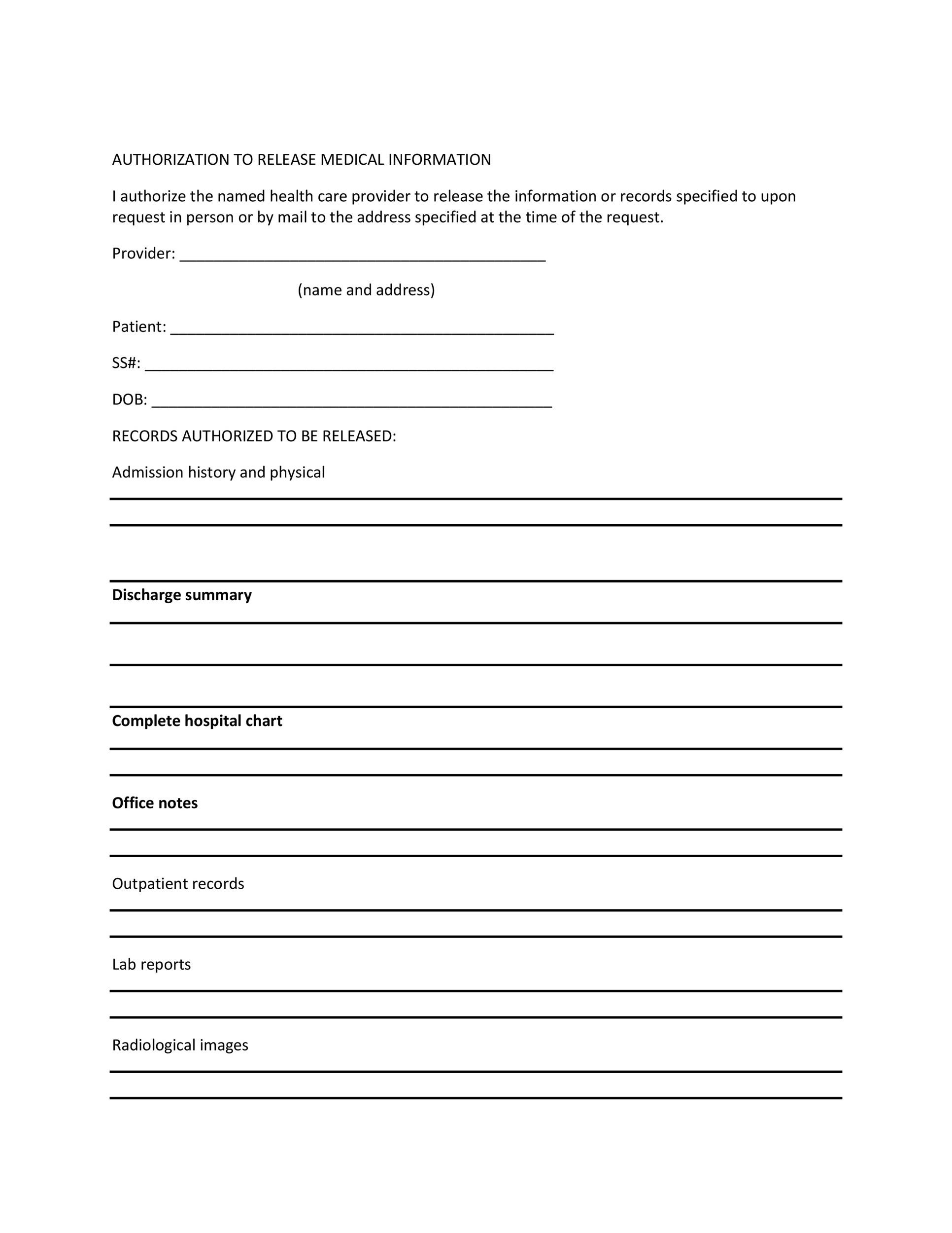30+ Medical Release Form Templates - Template Lab