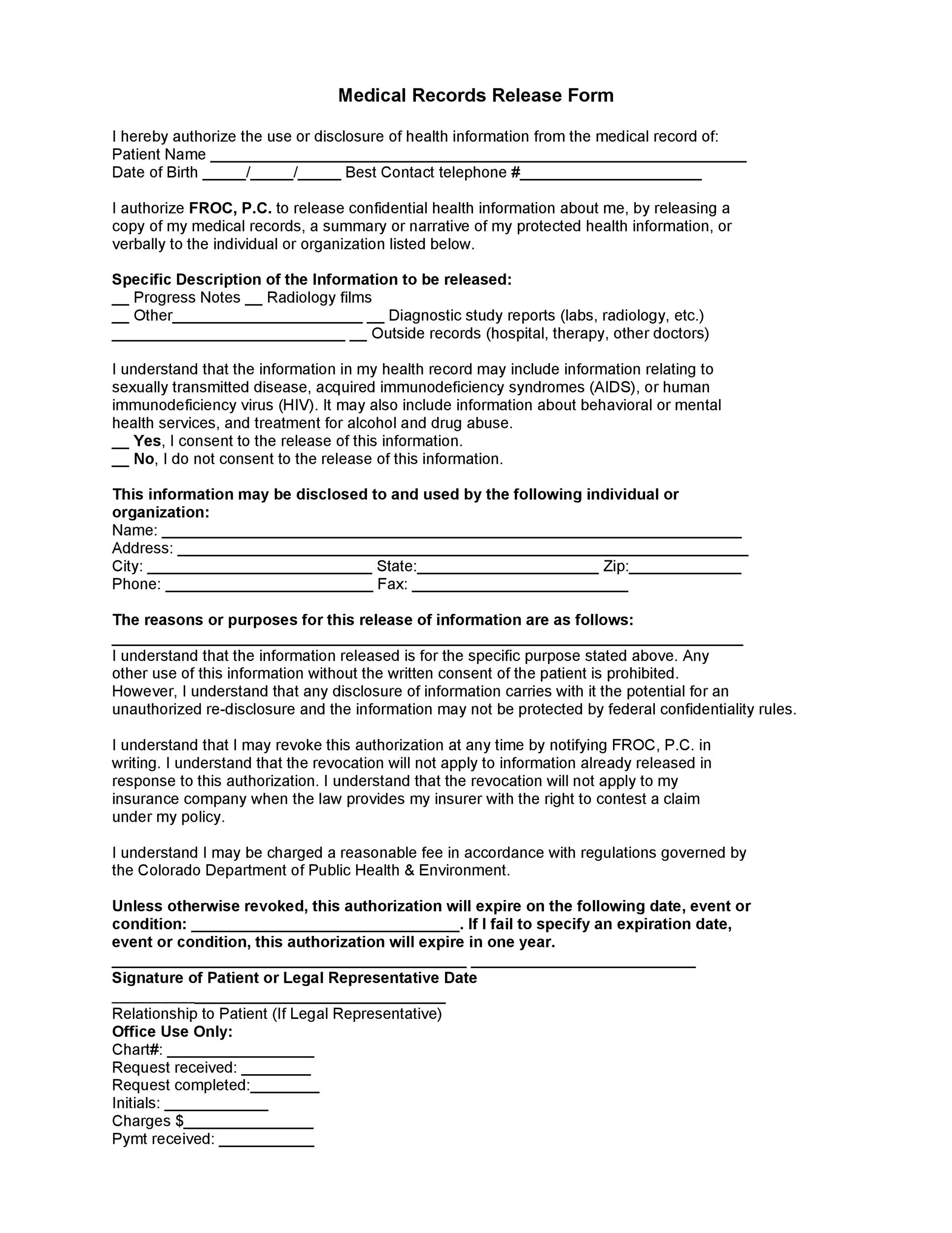 Sample Medical Records Release Form North Carolina Medical - sample medical records release form