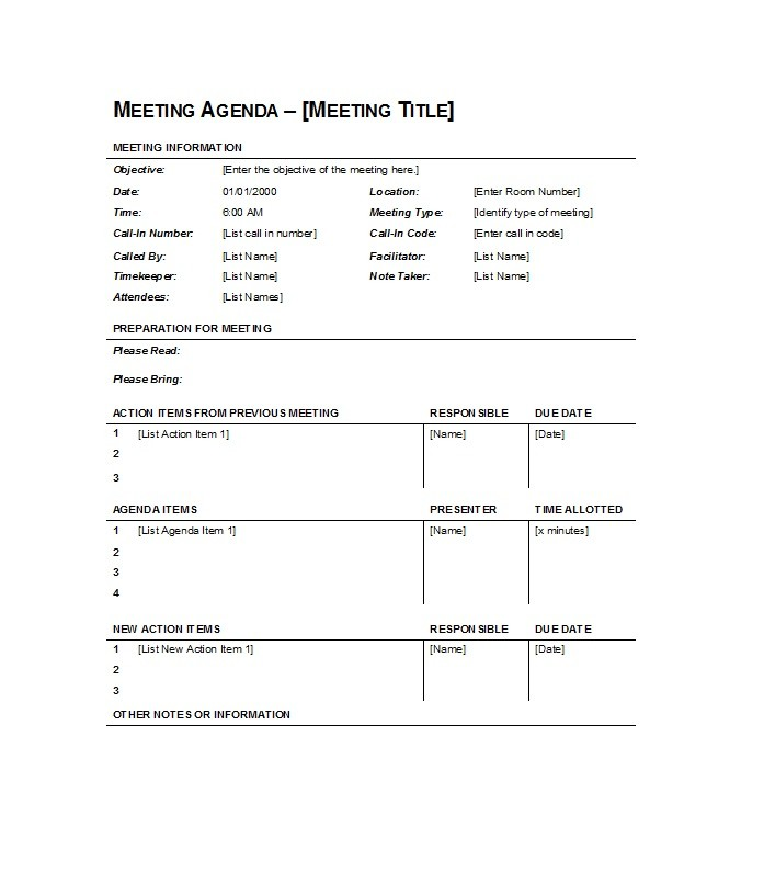 46 Effective Meeting Agenda Templates - Template Lab - meeting agenda outline