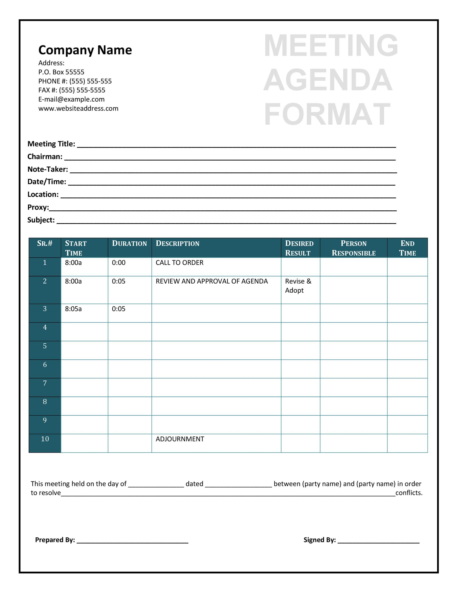 46 Effective Meeting Agenda Templates - Template Lab - format for an agenda