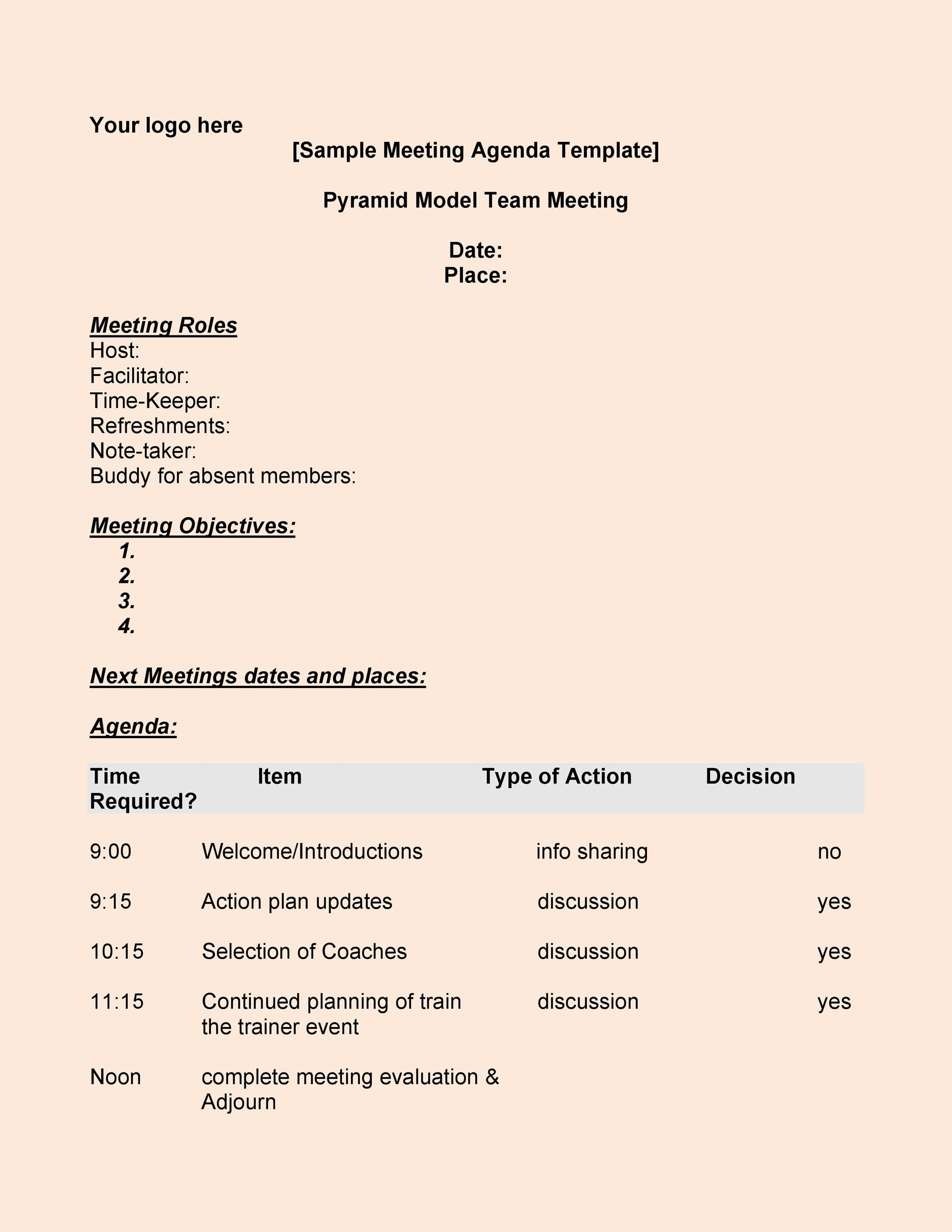 executive meeting agenda template - Funfpandroid - Agendas Templates