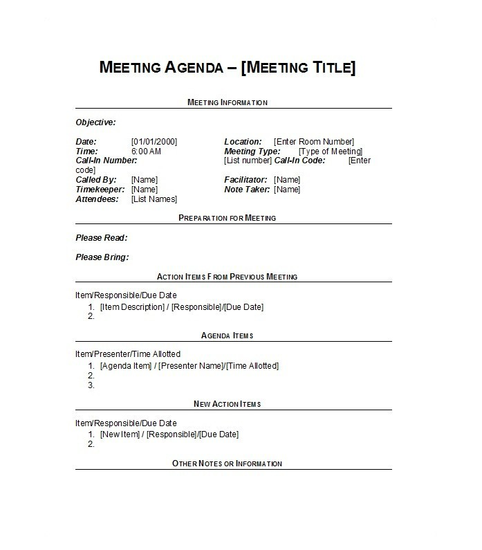 46 Effective Meeting Agenda Templates - Template Lab - meeting outline template
