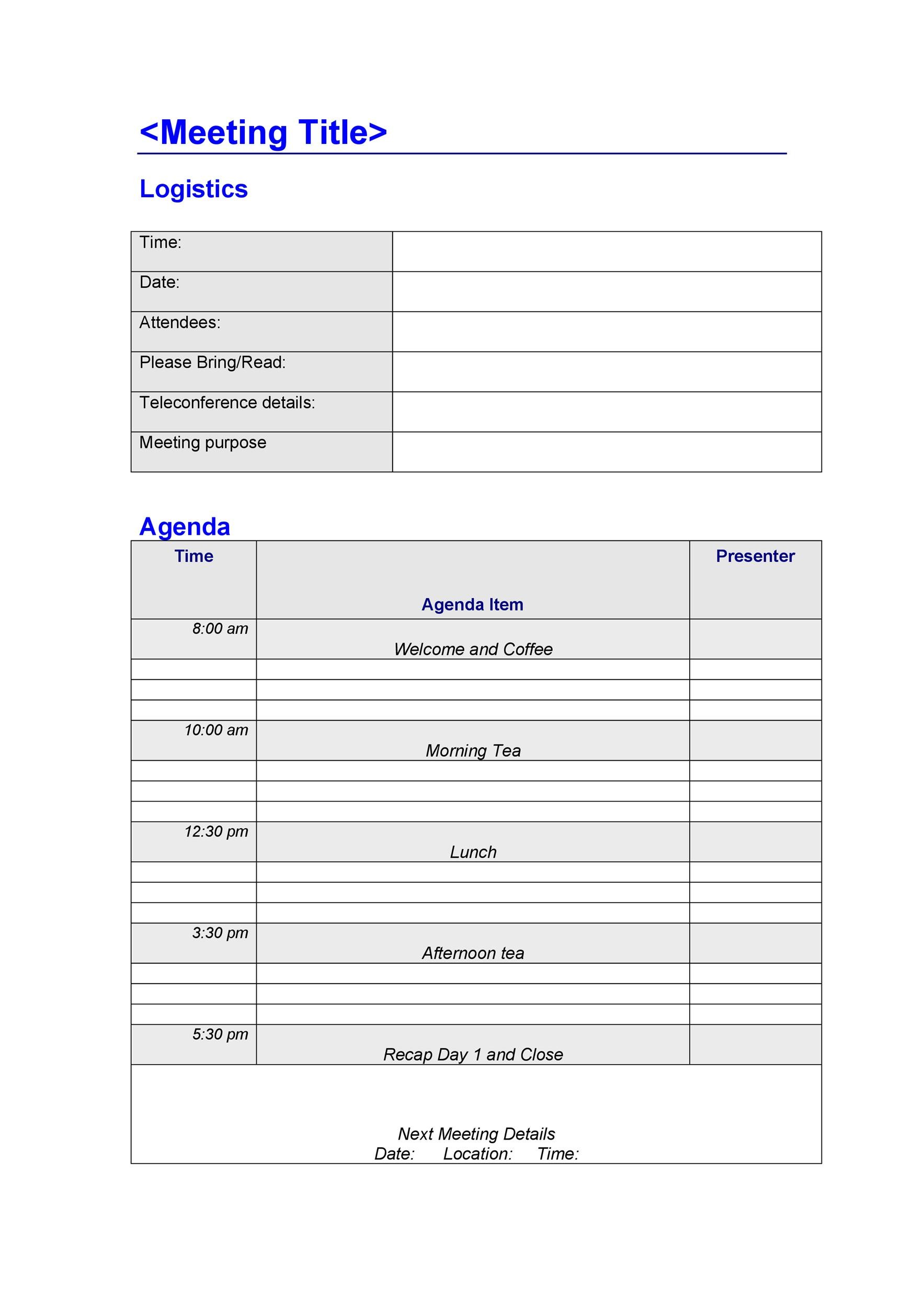 46 Effective Meeting Agenda Templates ᐅ Template Lab