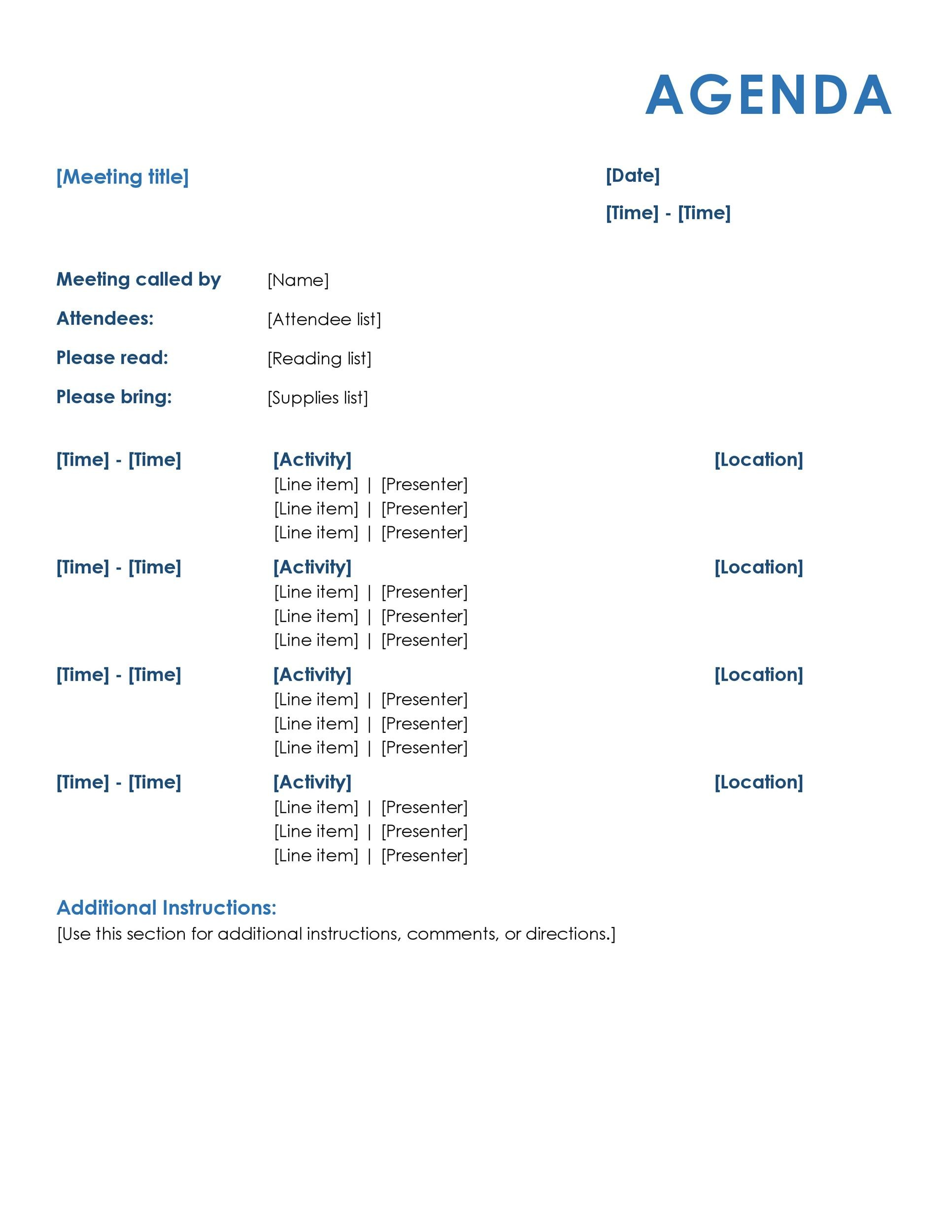sample of meeting agenda format - Bire1andwap - format for an agenda