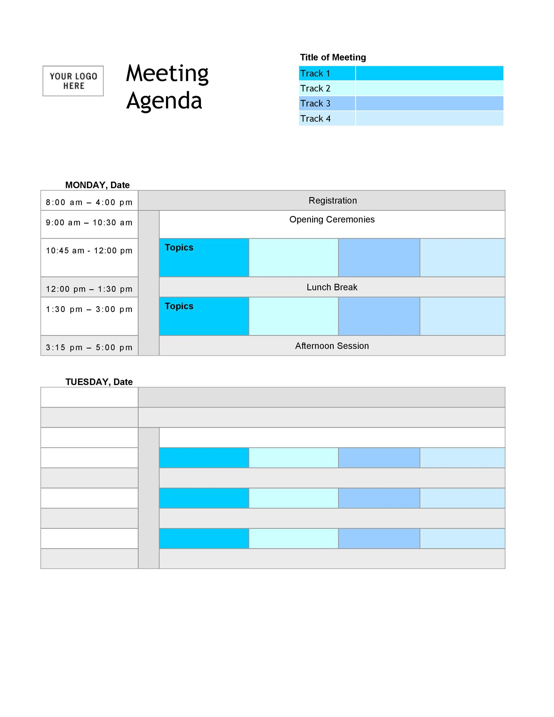46 Effective Meeting Agenda Templates - Template Lab - meeting planning template