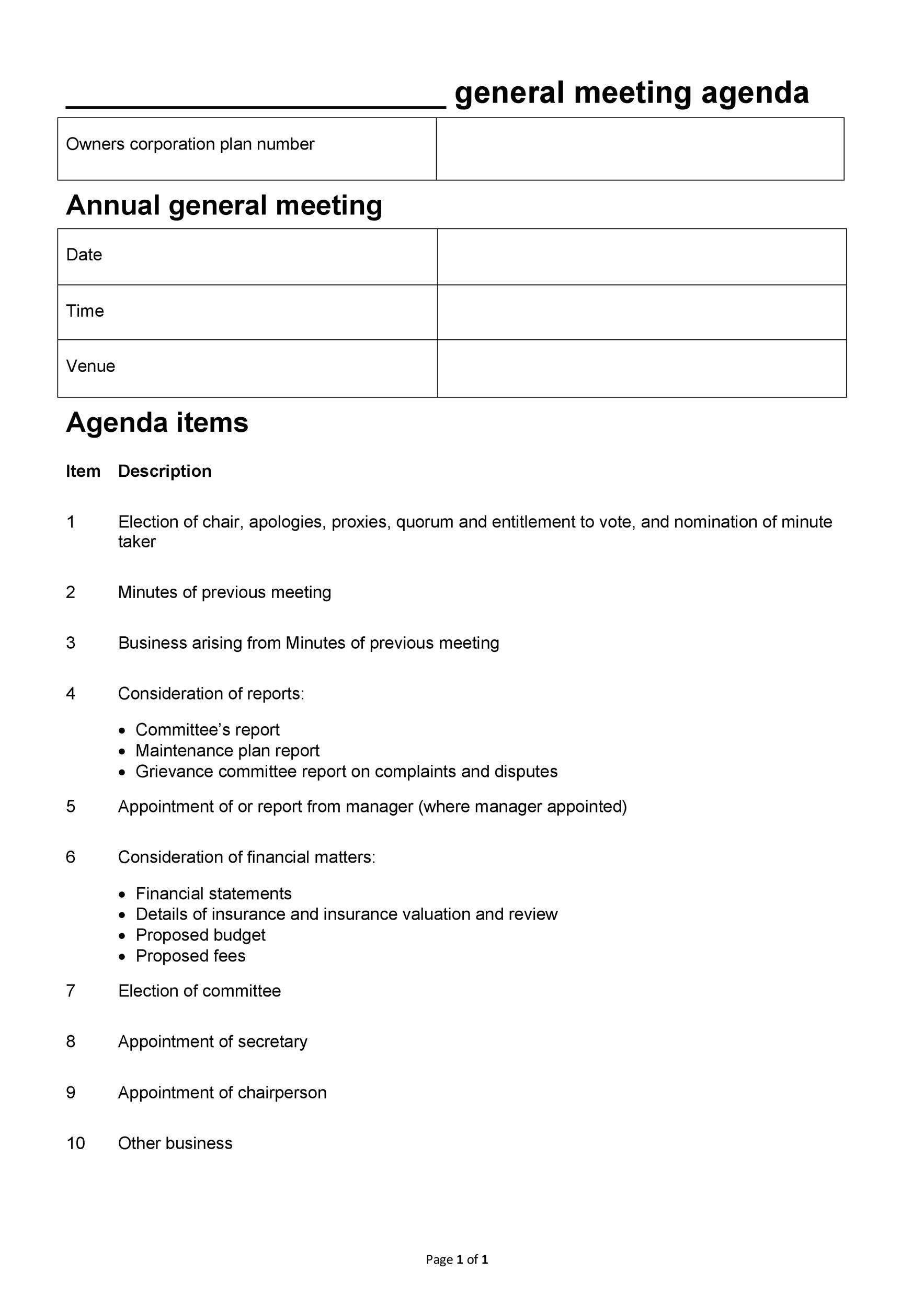 46 Effective Meeting Agenda Templates - Template Lab - blank meeting agenda template