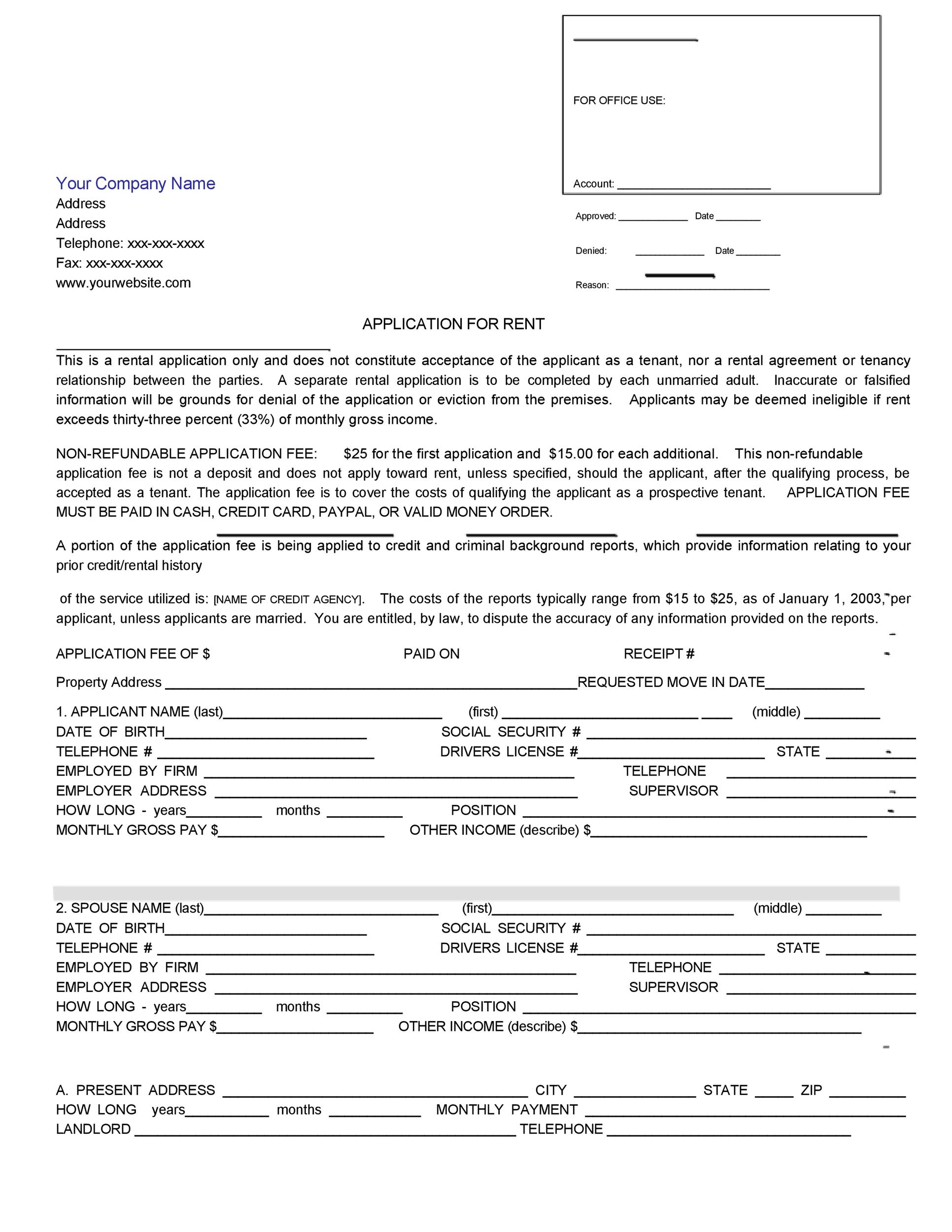 42 Rental Application Forms  Lease Agreement Templates - rental application form in word